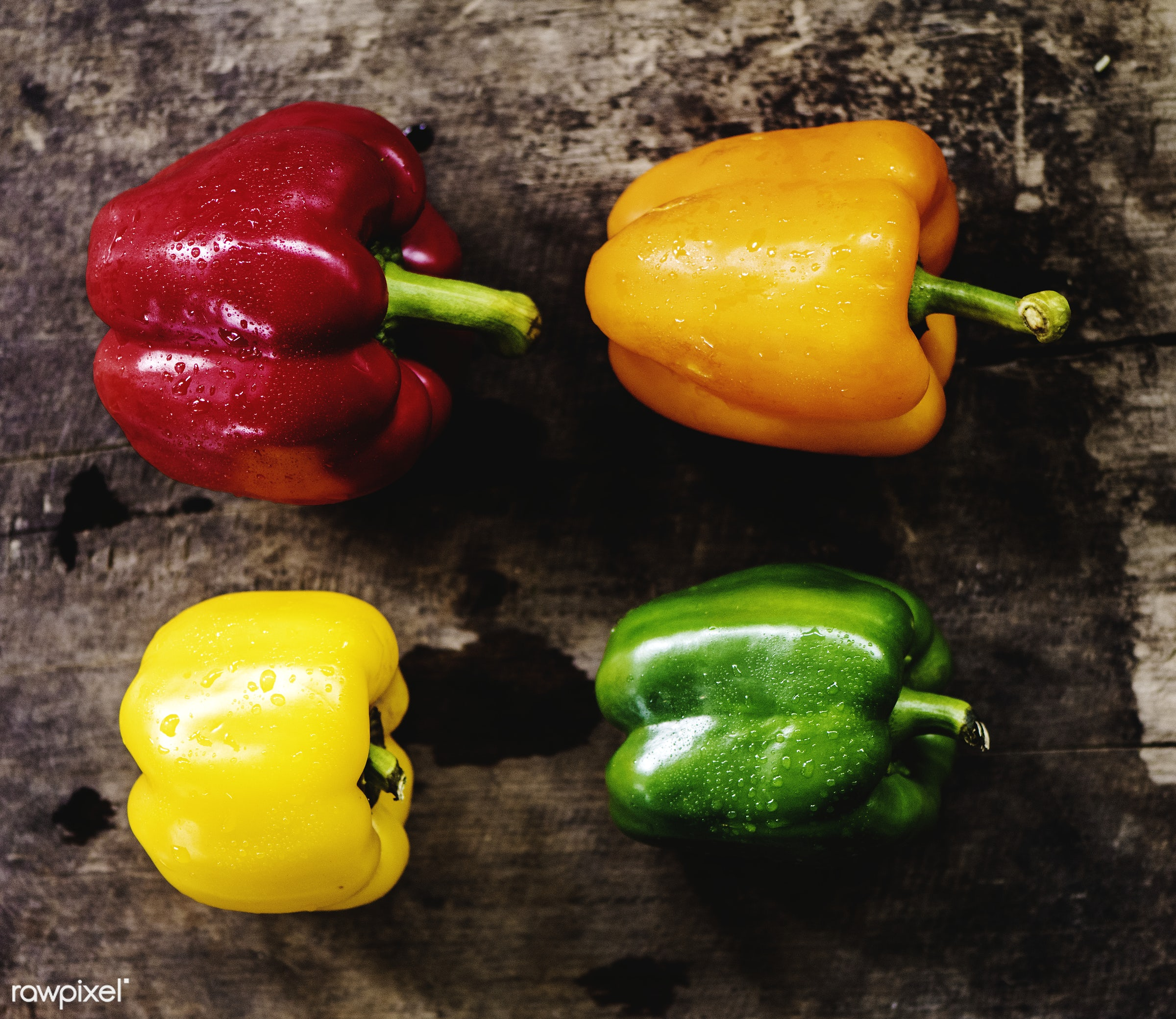 raw, nobody, sweet peppers, set, yellow, ingredients, farm, nature, fresh, bell peppers, wooden background, aerial view,...