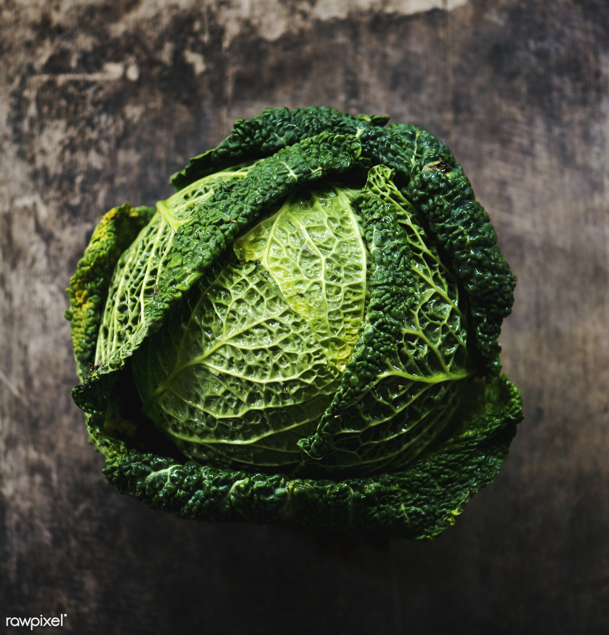 Cabbage - plant, raw, nobody, leaf, ingredients, farm, nature, fresh, wooden background, aerial view, products, closeup,...
