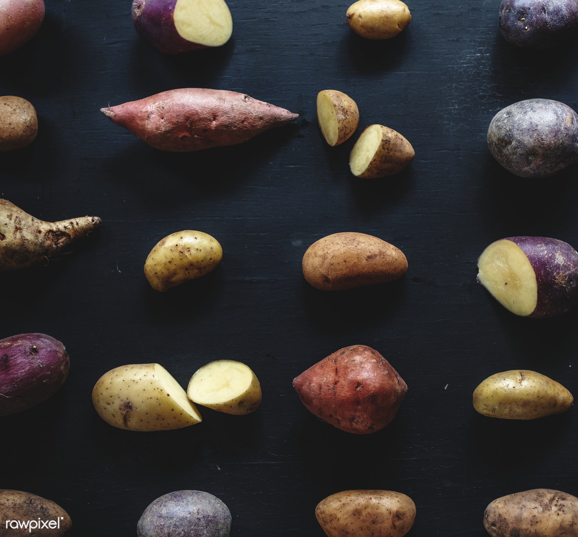 raw, nobody, set, collection, sweet potato, black background, farm, ingredients, nature, fresh, various, products, closeup,...