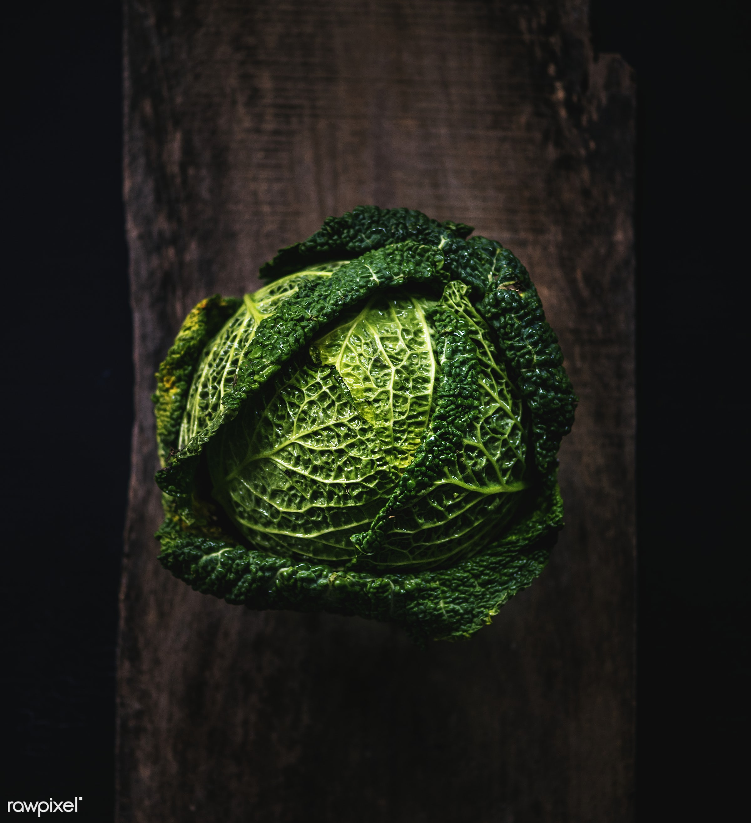 Cabbage - raw, plant, nobody, leaf, farm, ingredients, nature, fresh, wooden background, aerial view, products, closeup,...
