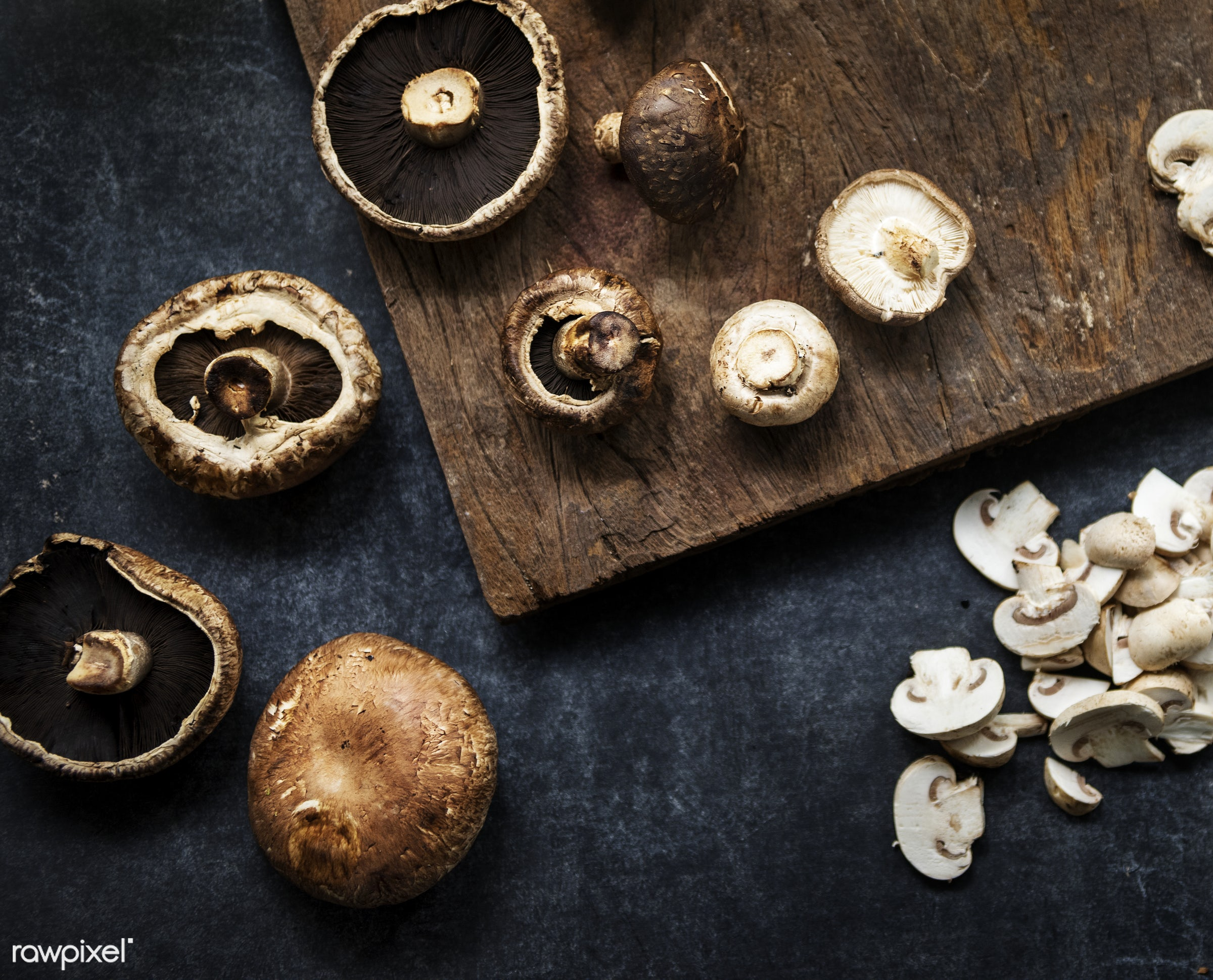 Different varieties of mushrooms - raw, mushroom, plant, nobody, shiitake, white button, farm, black background, ingredients...