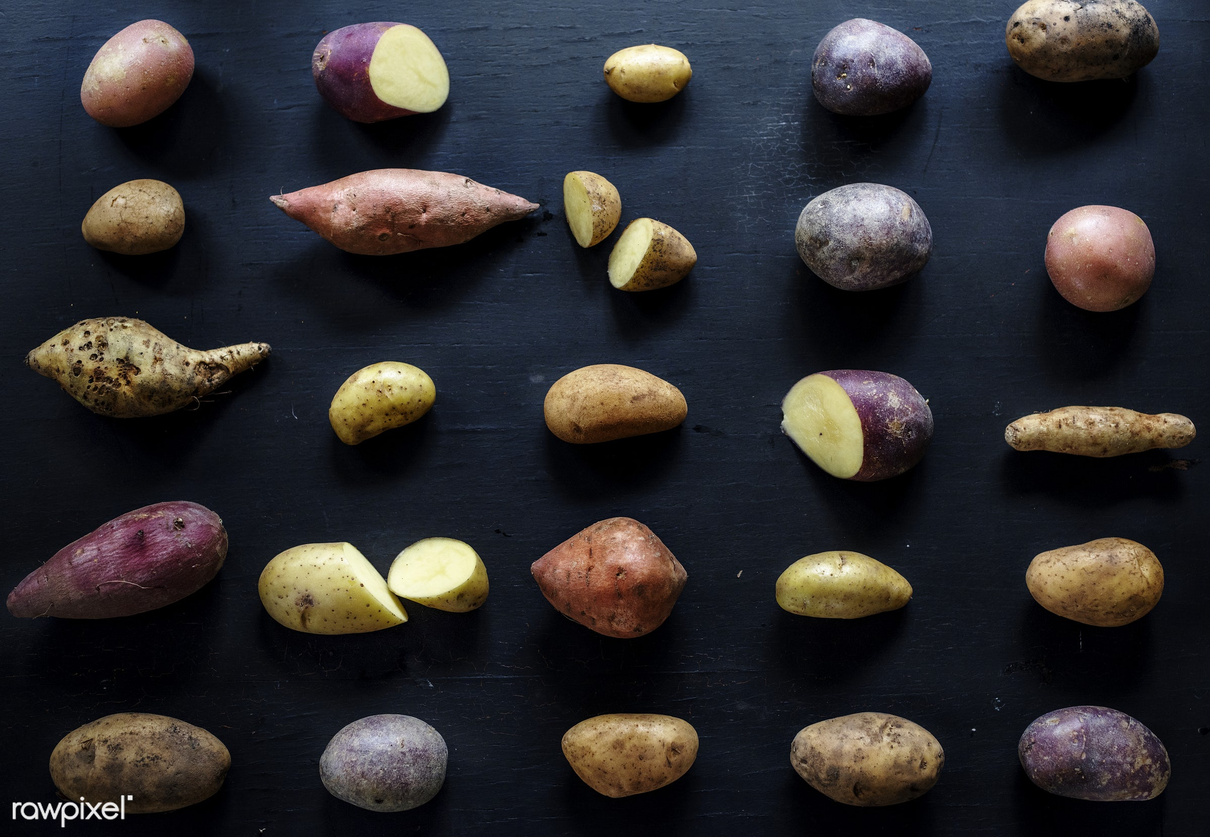 Different varieties of potatoes - raw, nobody, set, collection, sweet potato, black background, farm, ingredients, nature,...