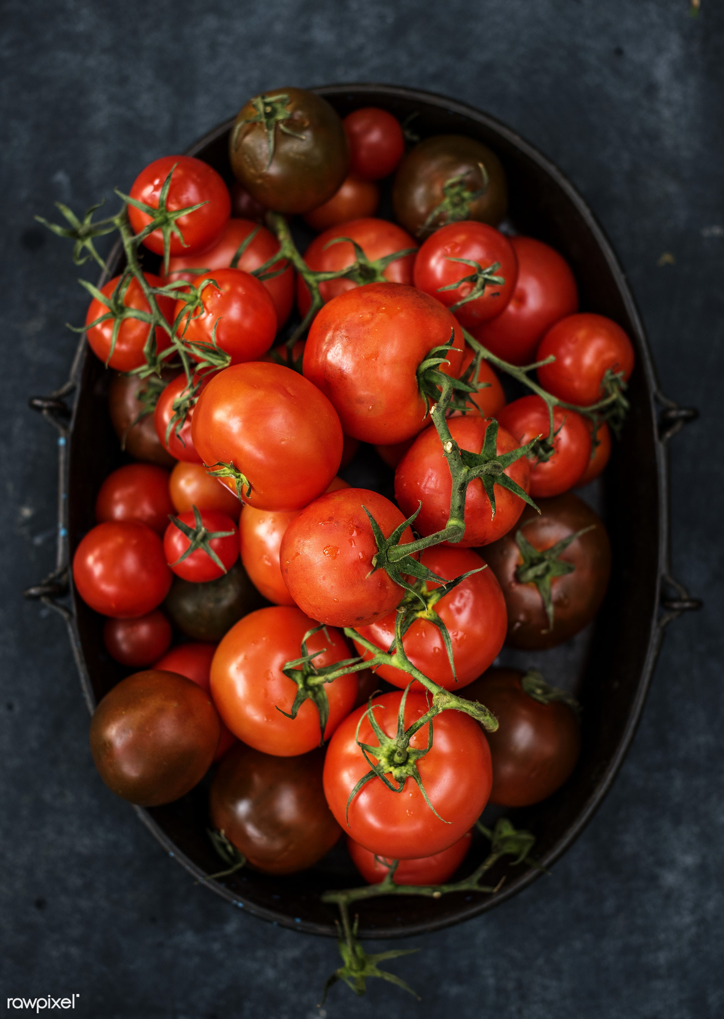 Tomatoes - raw, nobody, farm, real, nature, fresh, aerial view, products, closeup, agriculture, tomatoes, organic, food,...