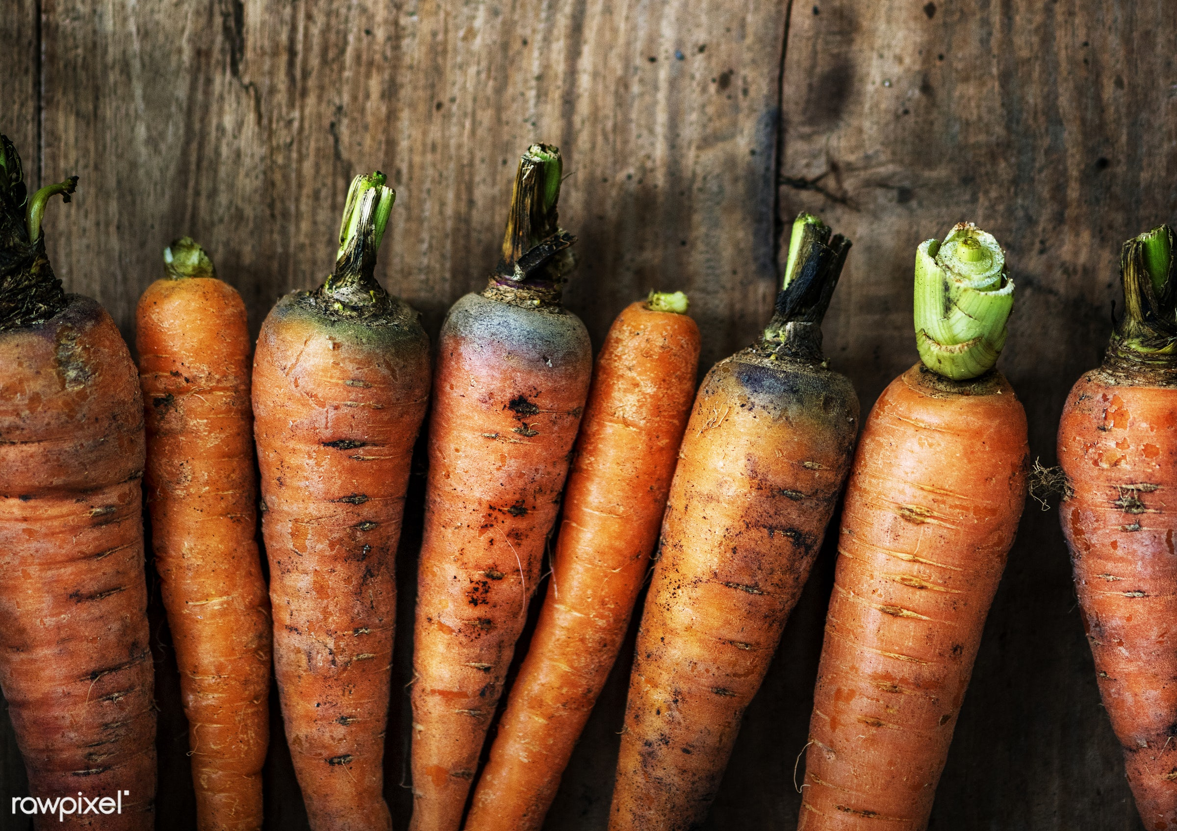Carrots - raw, nobody, set, farm, ingredients, nature, fresh, wooden background, aerial view, dirt, products, closeup,...