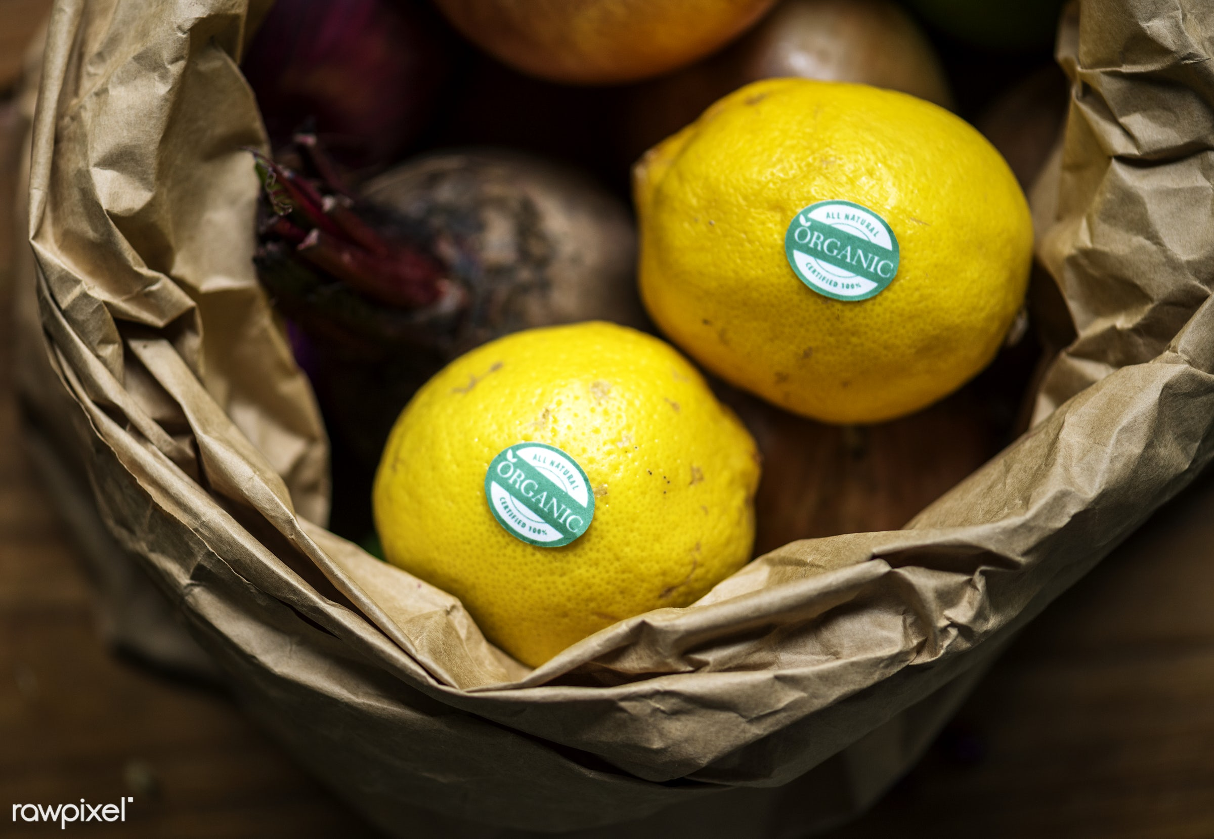 raw, nobody, yellow, ingredients, farm, nature, fresh, products, closeup, sour, agriculture, paper bag, organic, citrus,...