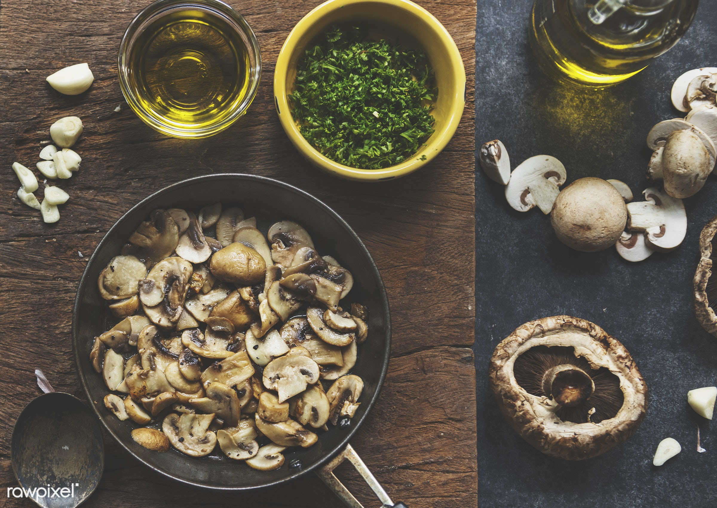 raw, mushroom, nutritious, sauteed, gastronomy, oil, fresh, vegetarian, cooking, ingredient, gourmet, nourishment, cutting...