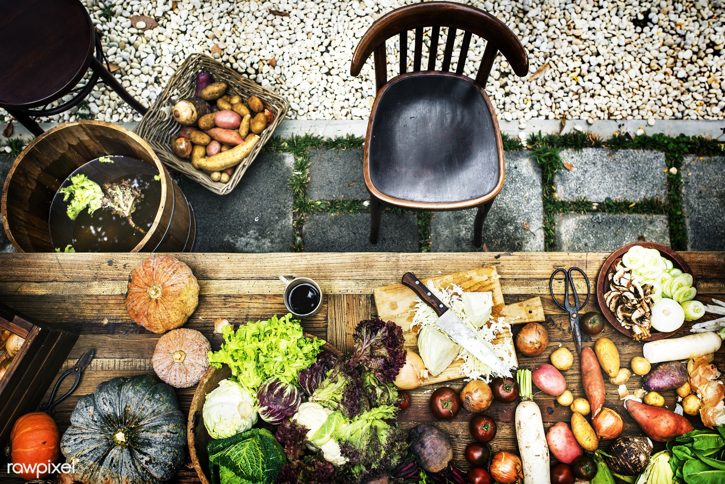 raw, nobody, ingredients, farm, chop board, real, nature, fresh, various, aerial view, products, closeup, knife, meal, cook...