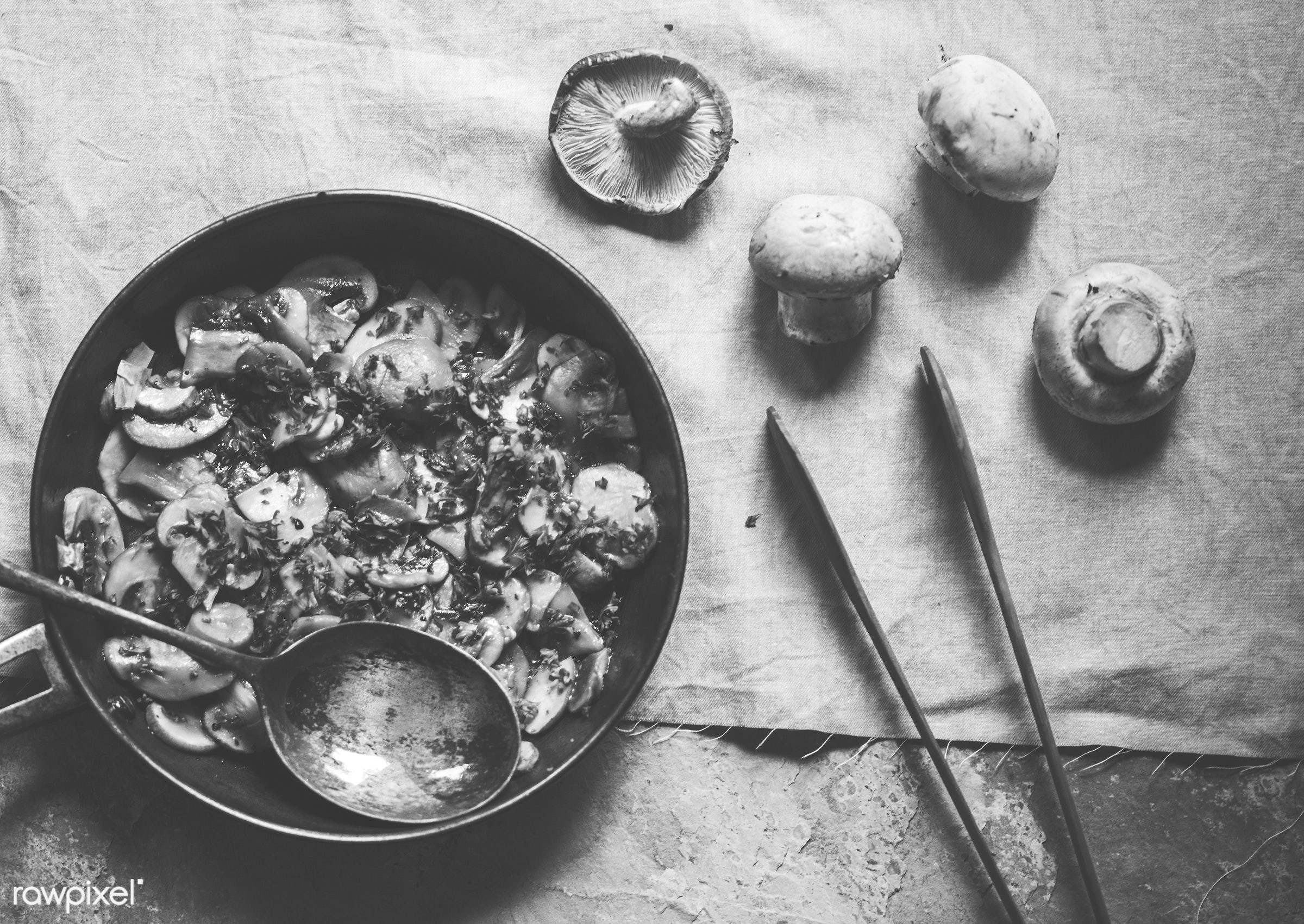raw, mushroom, nutritious, sauteed, gastronomy, fresh, vegetarian, cooking, ingredient, gourmet, tong, nourishment, flavor,...