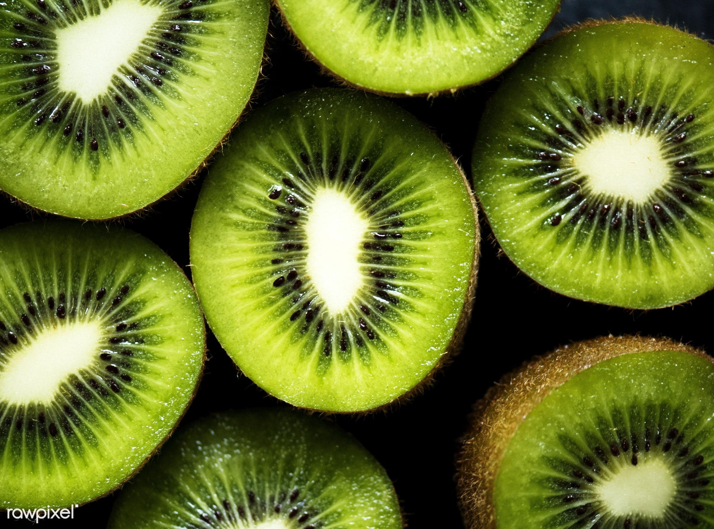 Fresh kiwi fruit - fruit, green, organic, fresh, kiwi, healthy, ingredient, closeup, products, nature, background, ripe