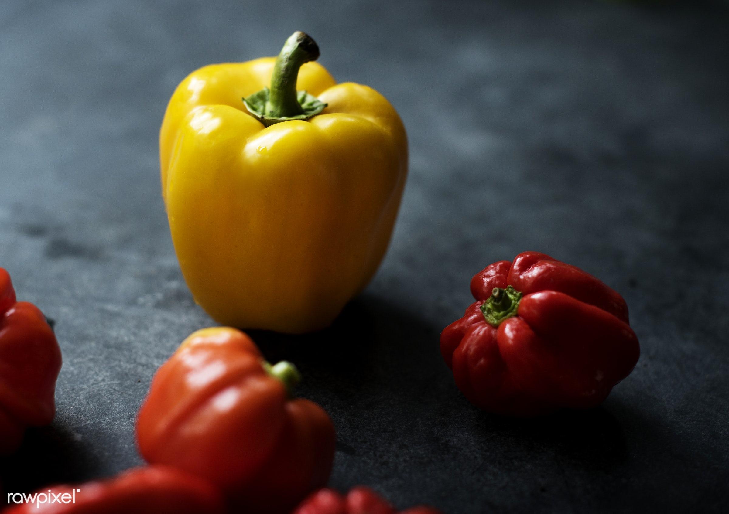 Fresh sweet bell peppers - raw, organic, nature, fresh, habanero, healthy, sweet pepper, harvest, vegetable, closeup, food,...