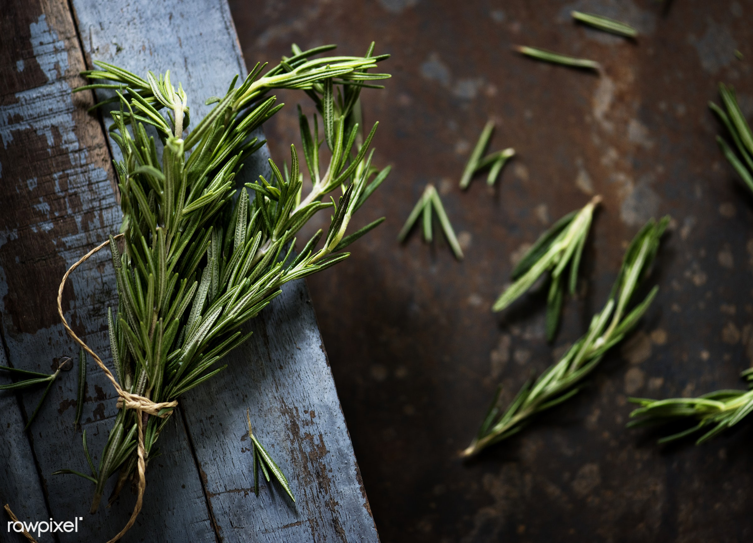 Rosemary herb on a wooden floor - plant, herbs, fresh, healthy, ingredient, vegetable, natural, rosemary, herb, nature,...