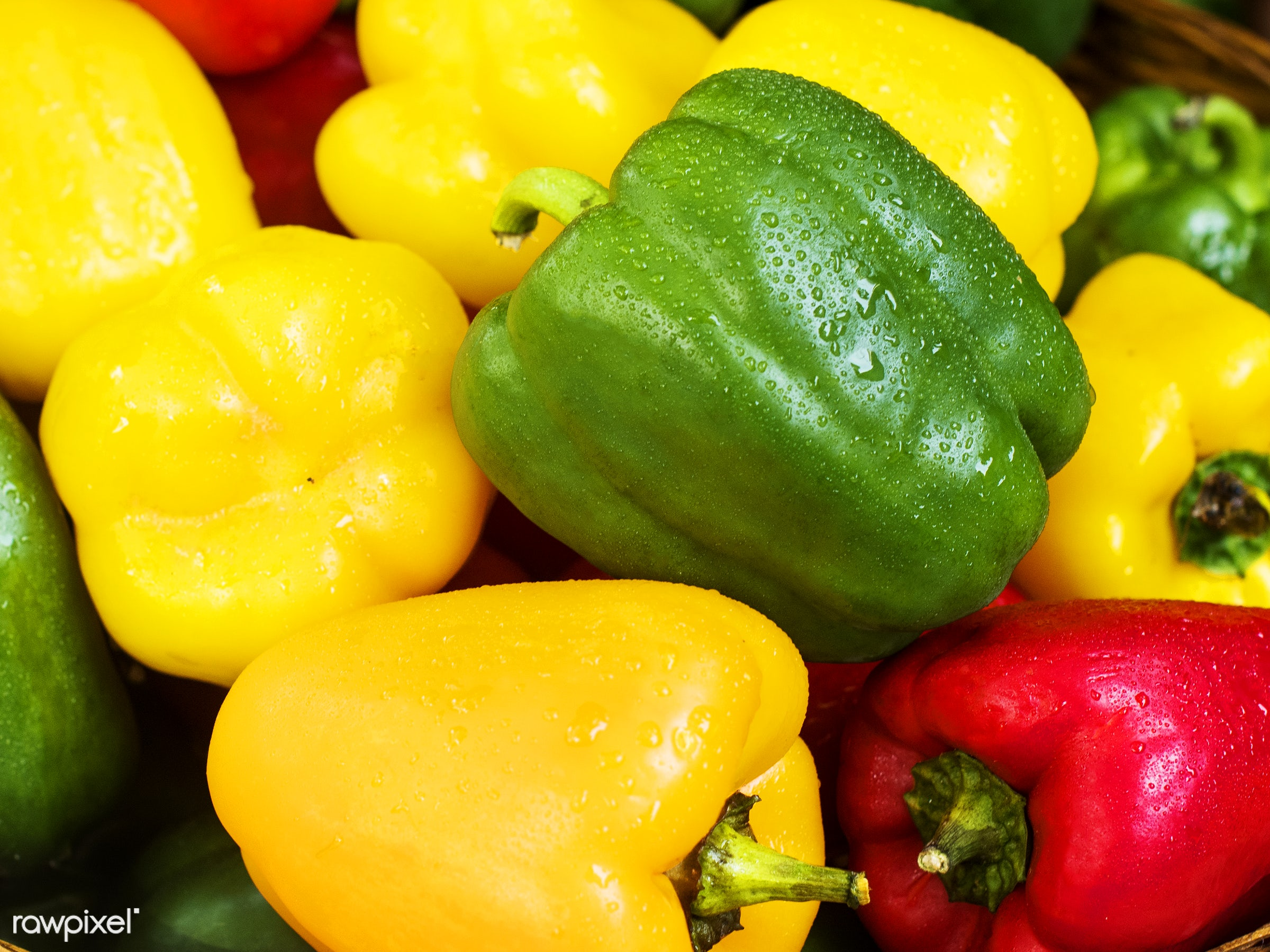 Fresh sweet bell peppers - yellow, nutrients, real, organic, red, fresh, sweet pepper, various, group, vegetable, closeup,...