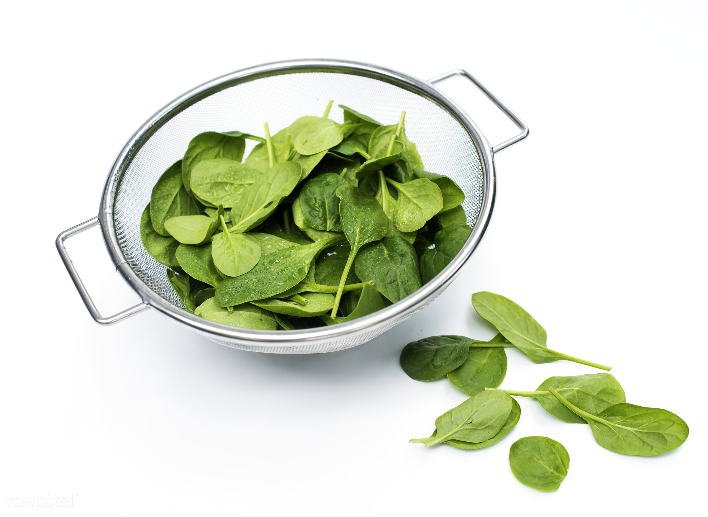 Fresh spinach leaves isolated on white - raw, plant, nobody, isolated, bowl, sieve, isolated on white, white background,...