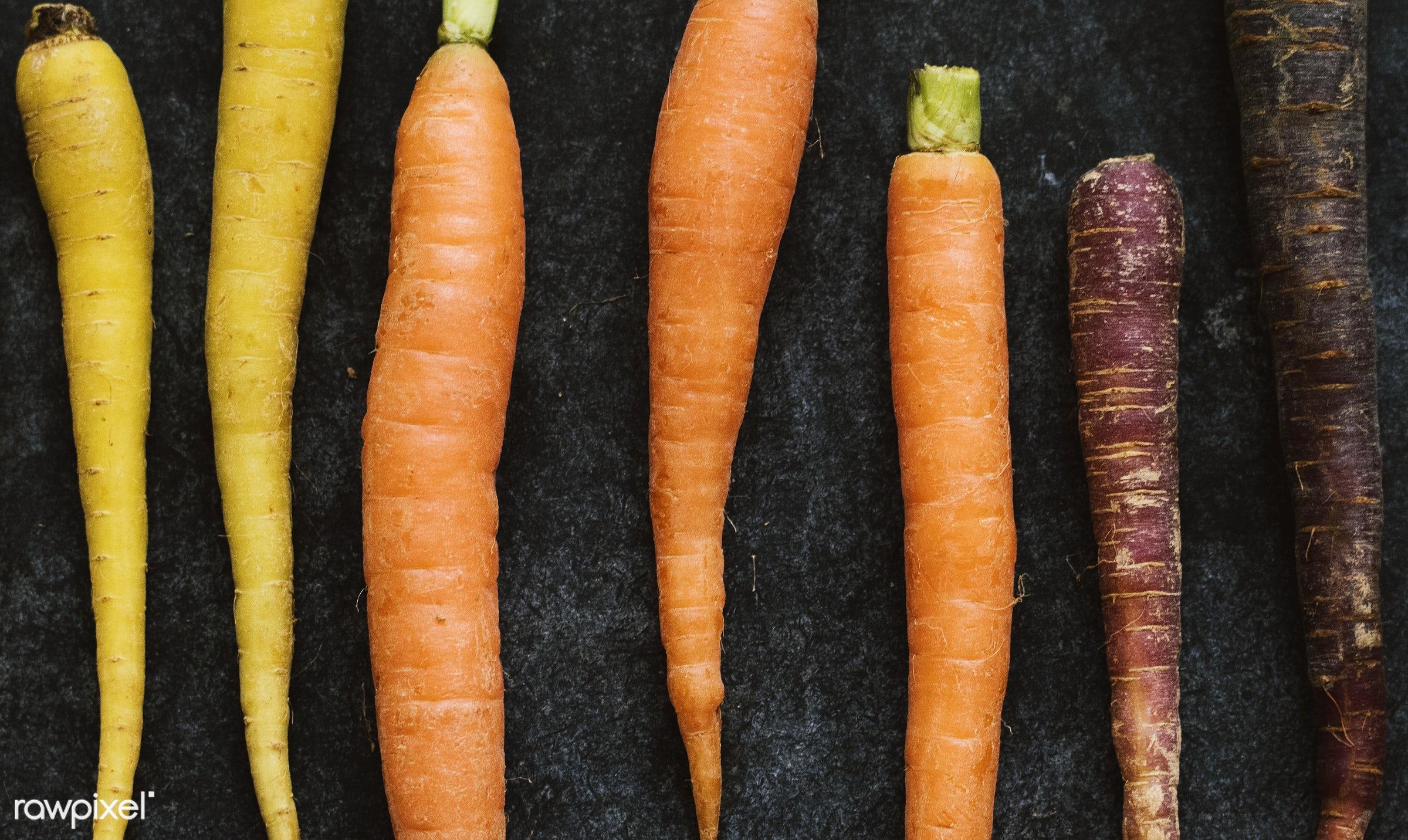 black table, nutrients, black background, real, organic, fresh, mixed, carrots, various, bunch, types, vegetable, closeup