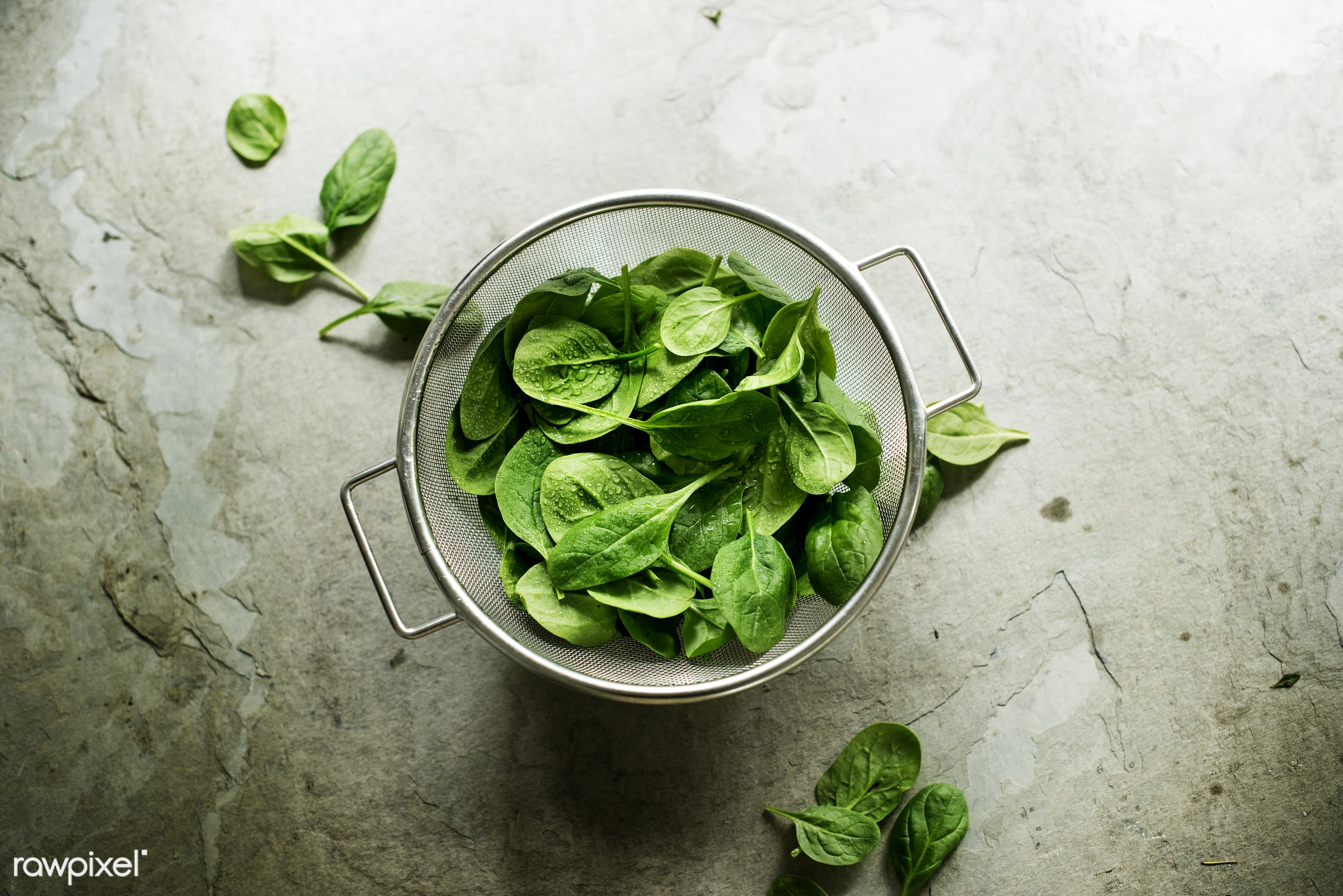 raw, plant, nobody, bowl, sieve, leaves, real, organic, nature, fresh, food, background, spinach, ingredient, vegetable,...