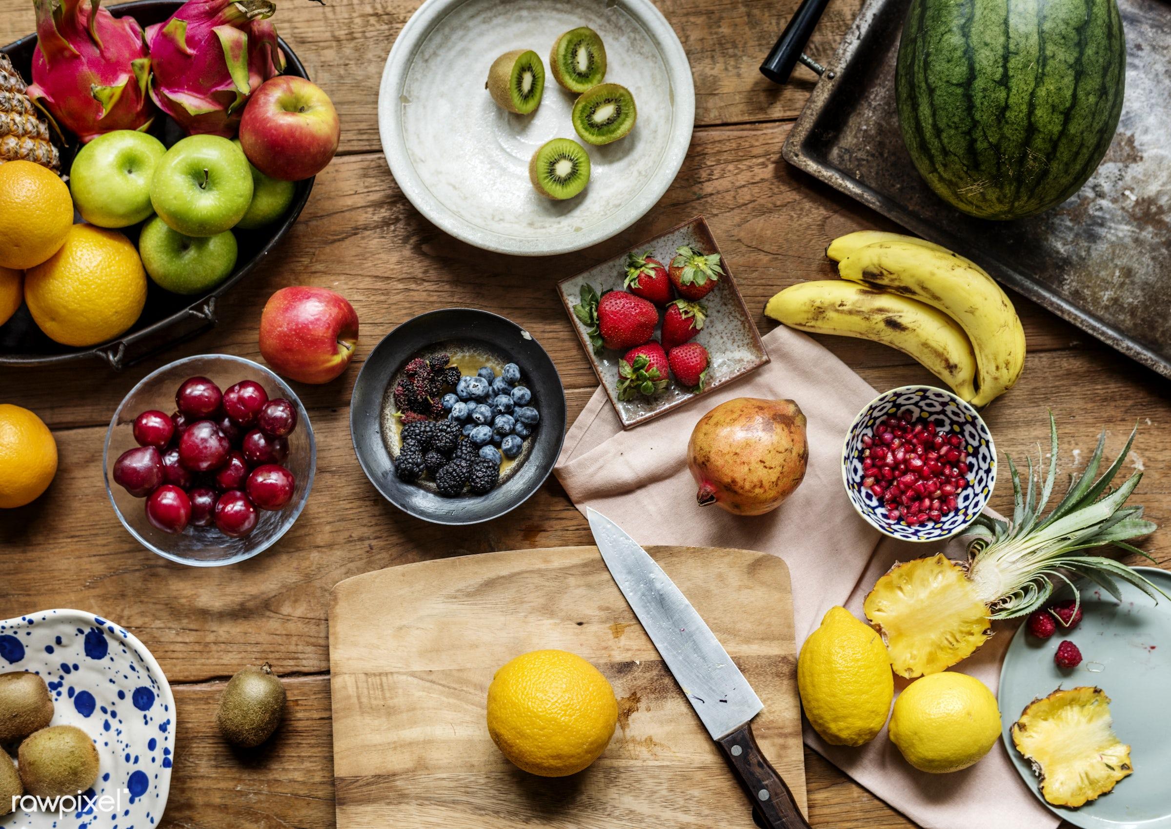 nobody, pomegranate, real, nature, fresh, kiwi, apples, various, closeup, knife, superfood, orange, cut board, green, fruits...