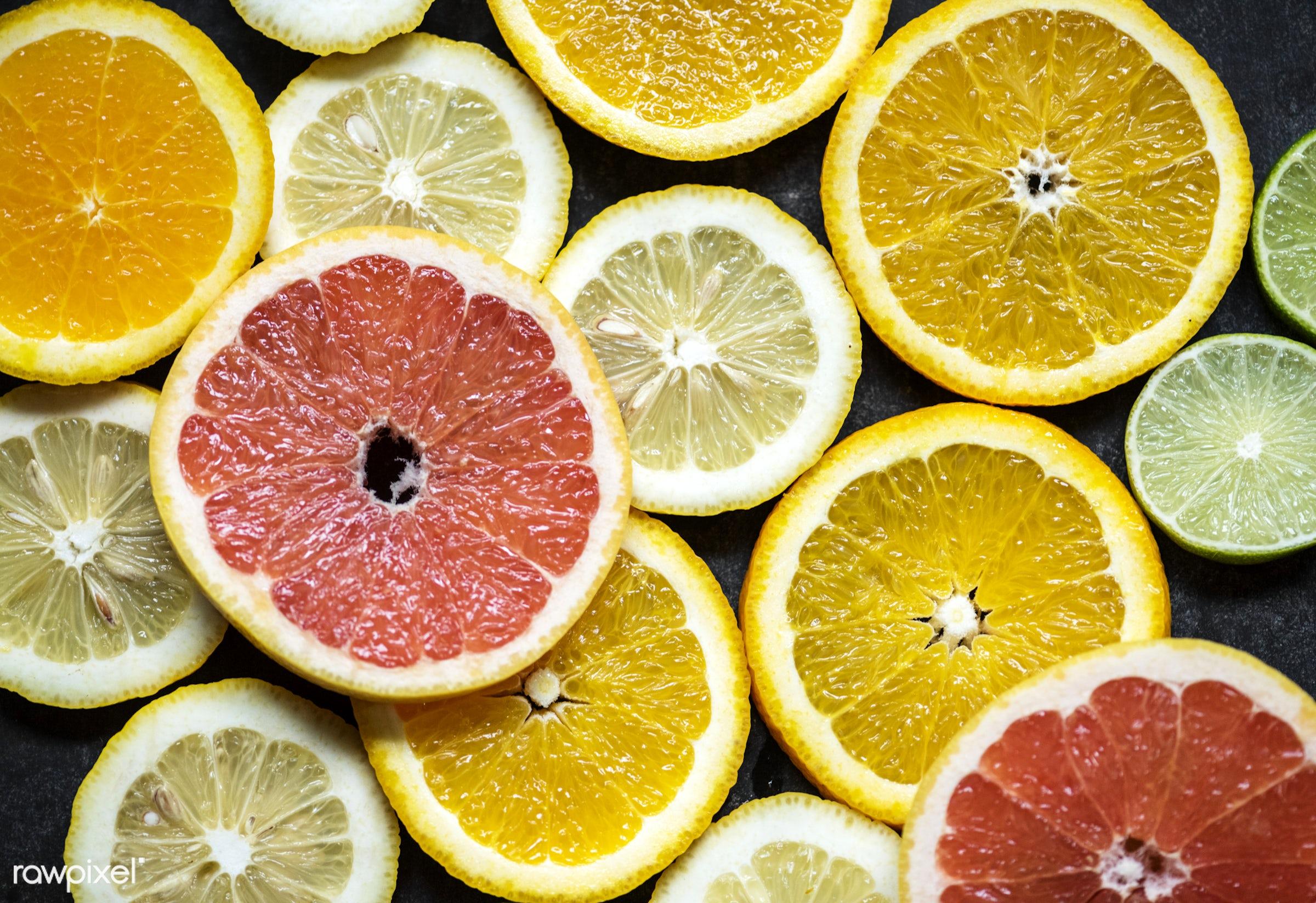 nobody, black background, real, rouse, fresh, mixed, closeup, isolated, orange, fruit, lome, organic, citrus, background,...