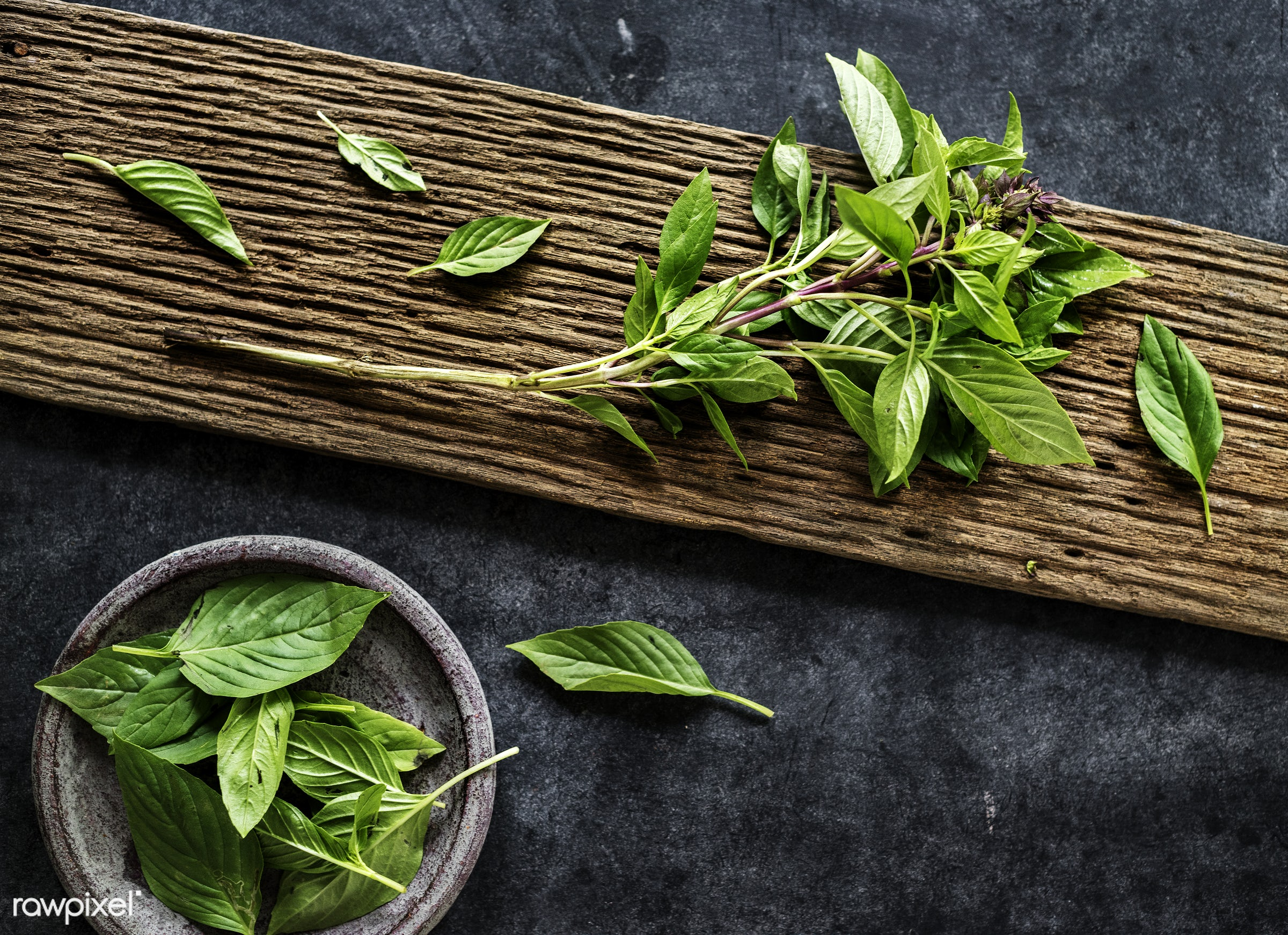 nobody, herbs, leaves, spices, basil, asian, ingredients, black background, real, asian cuisine, organic, nature, fresh,...