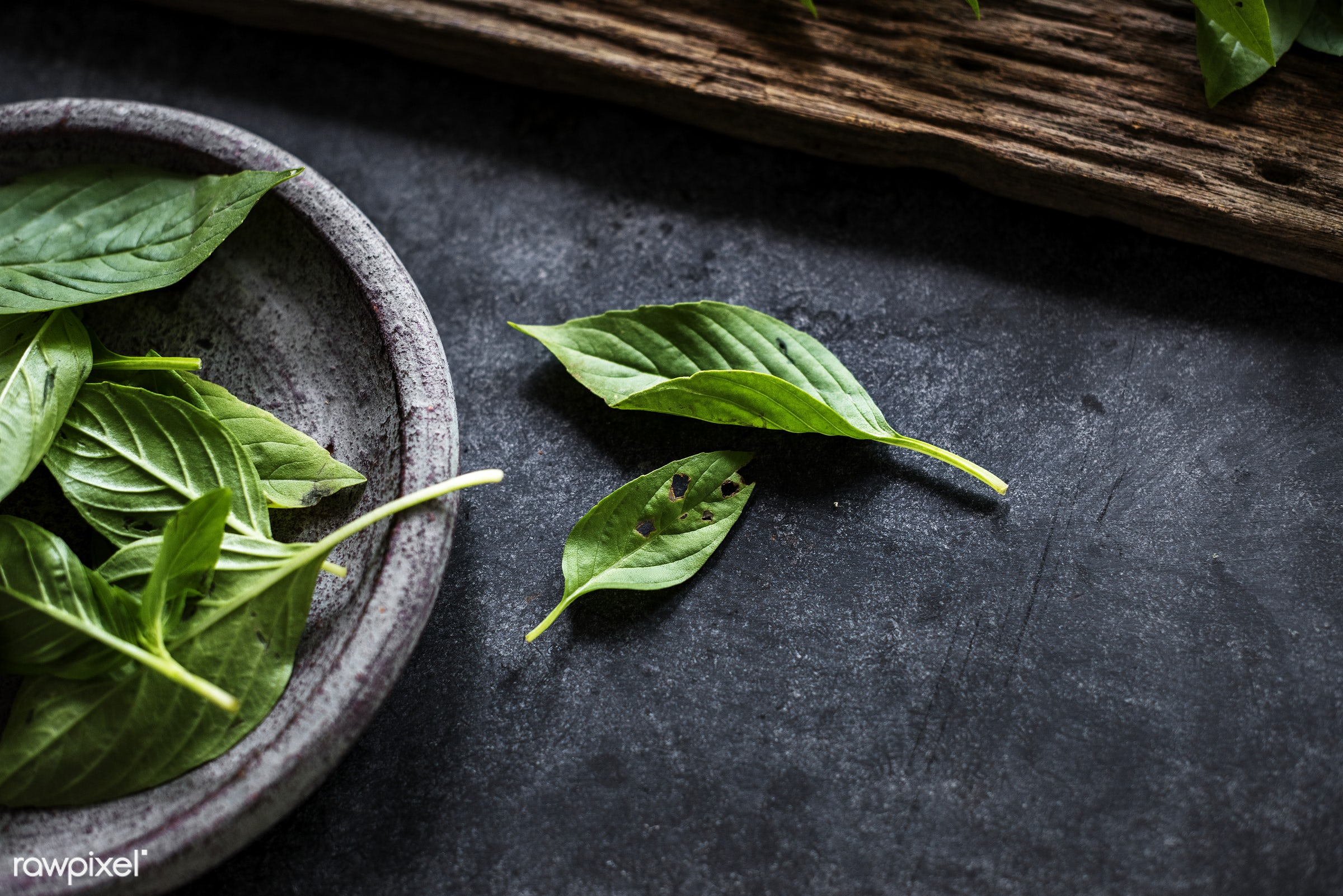 Fresh basil leaves asian herb - nobody, herbs, leaves, spices, basil, asian, ingredients, black background, real, asian...