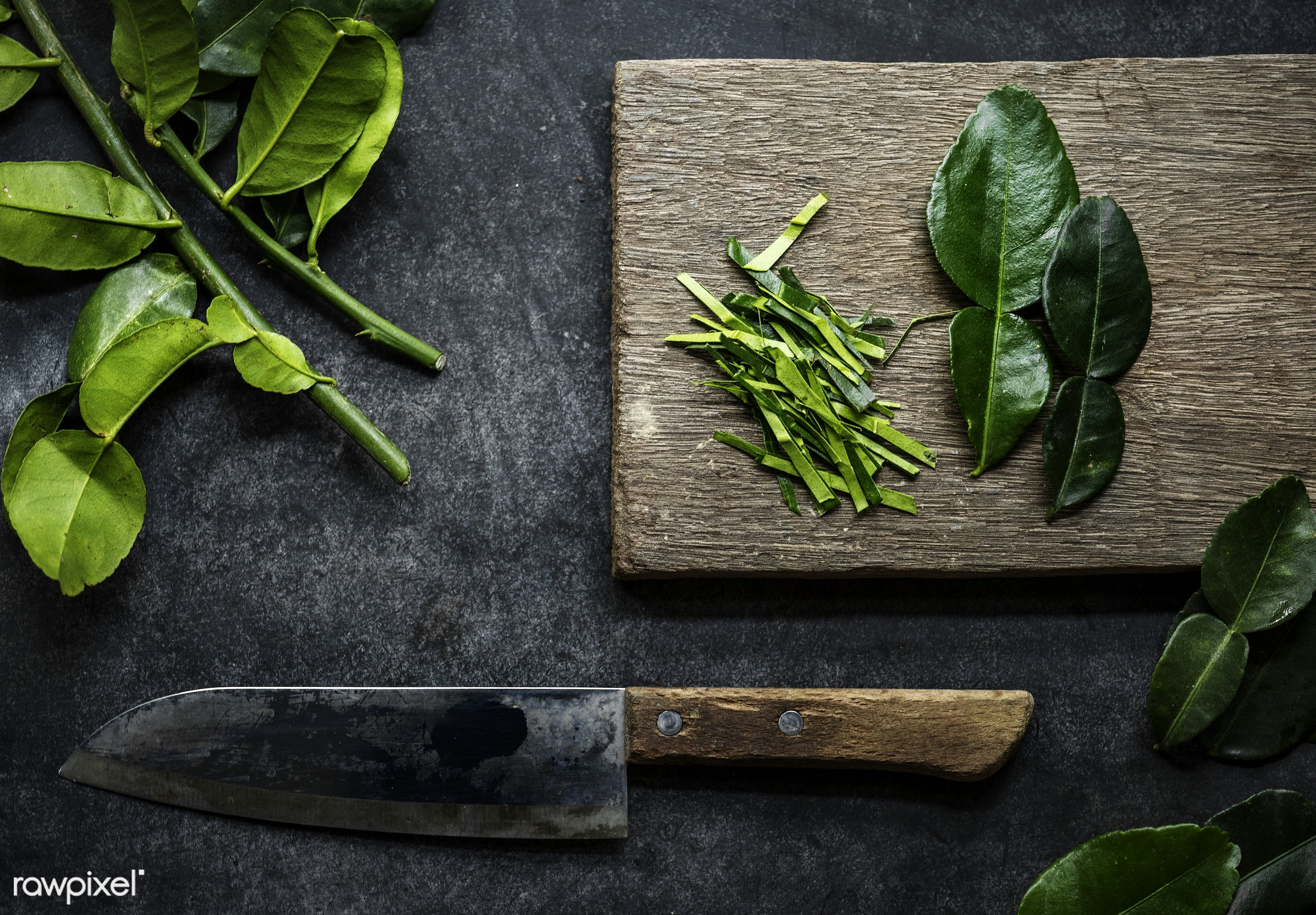 nobody, cut board, kaffir, herbs, chopping board, leaves, spices, asian, black background, ingredients, real, organic, asian...