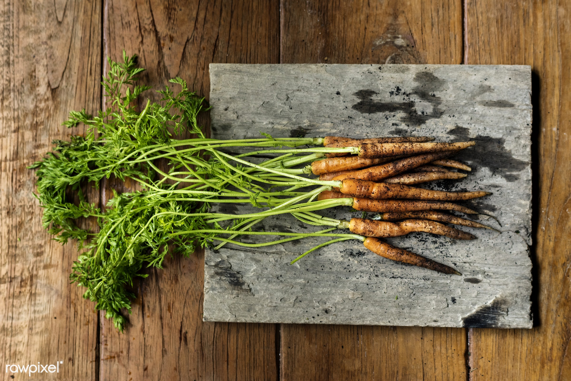 aerial, nutrients, real, organic, fresh, carrots, bunch, dirt, vegetable, closeup, wooden table, soil