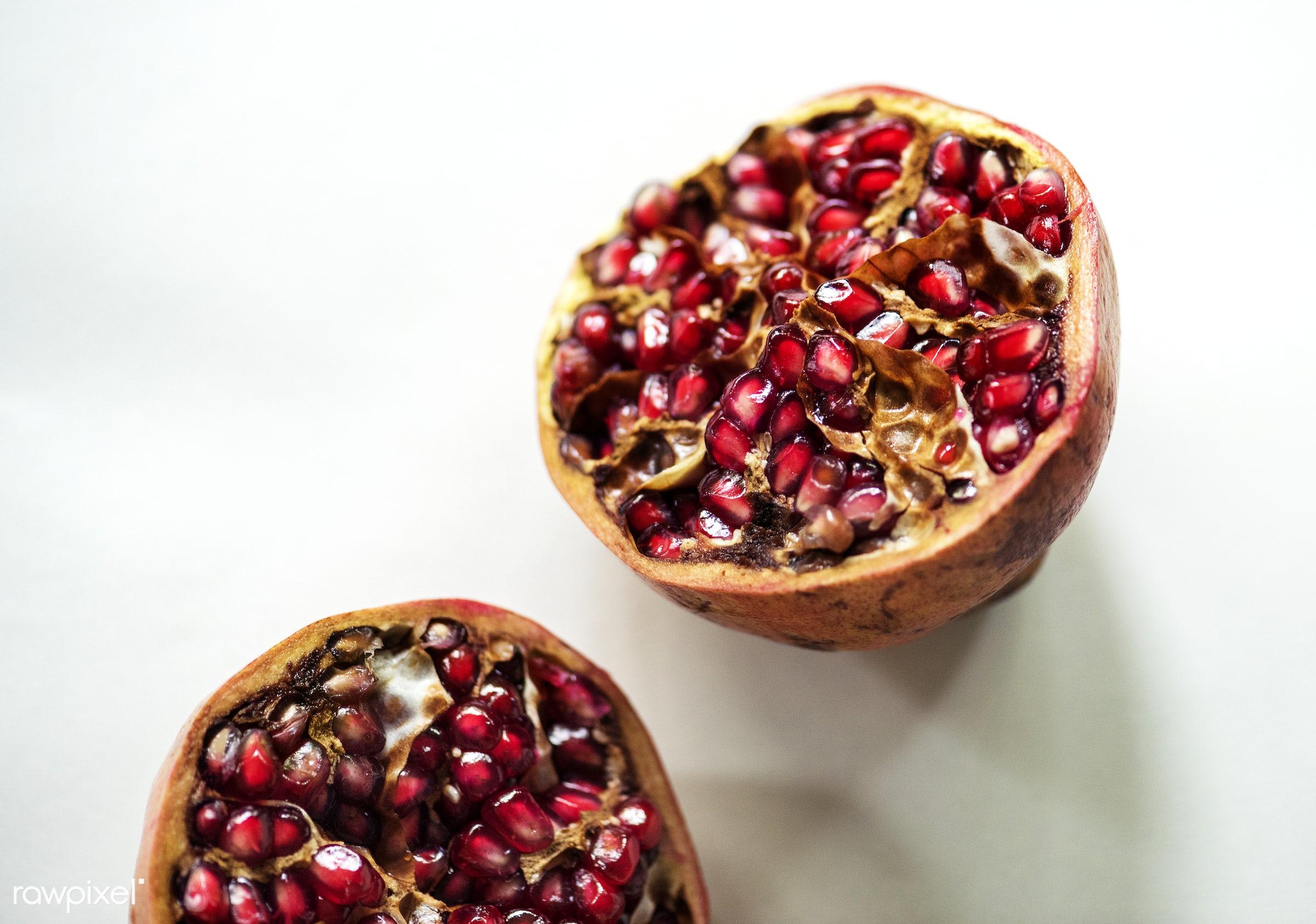 Fresh pomegranate fruit - isolated, fruit, pomegranate, seed, isolated on white, half, white background, real, organic, red...