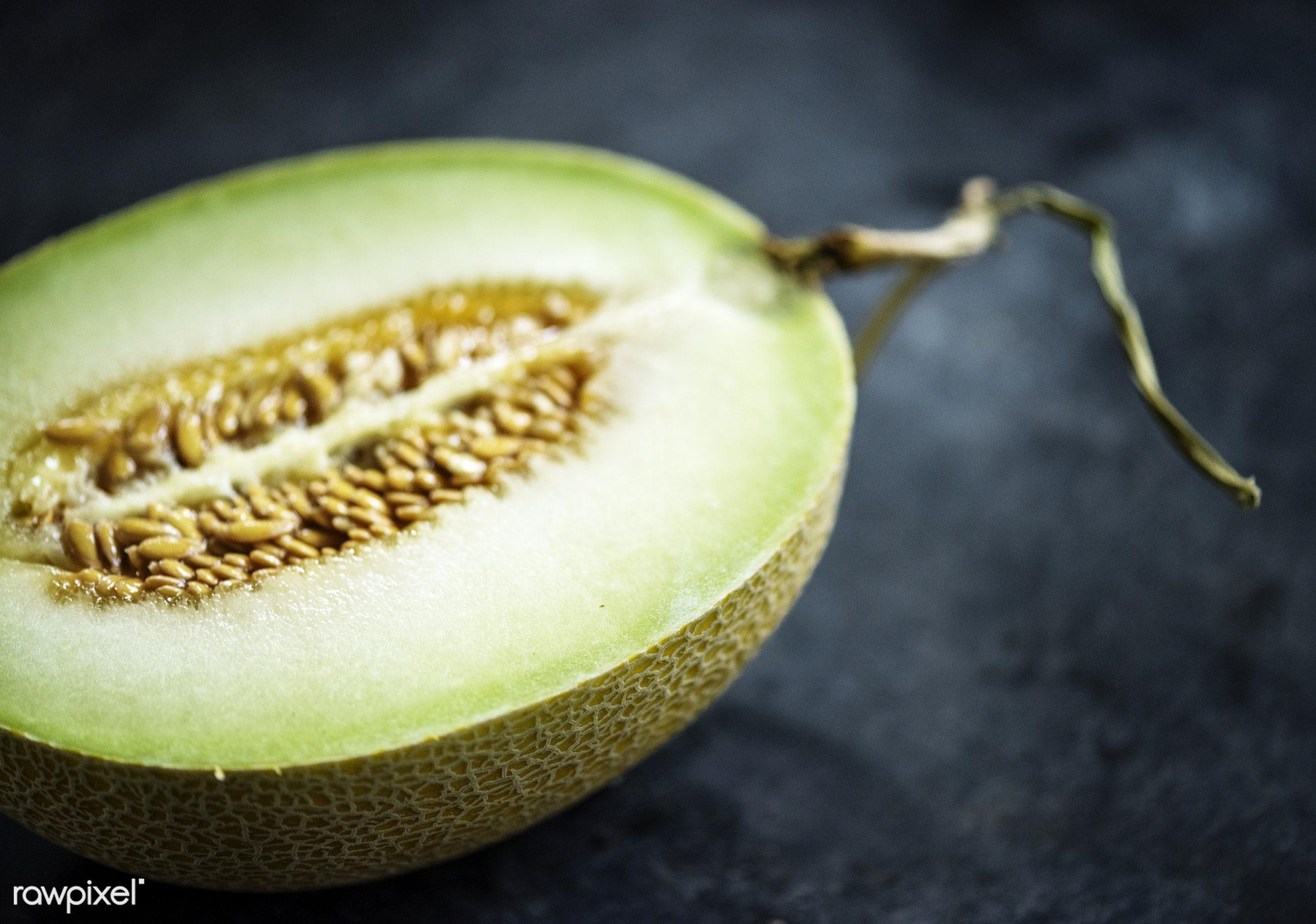 raw, nobody, juicy, fruit, green, half, black background, real, melon, nature, cantaloupe, fresh, food, ripe, seeds, cut,...