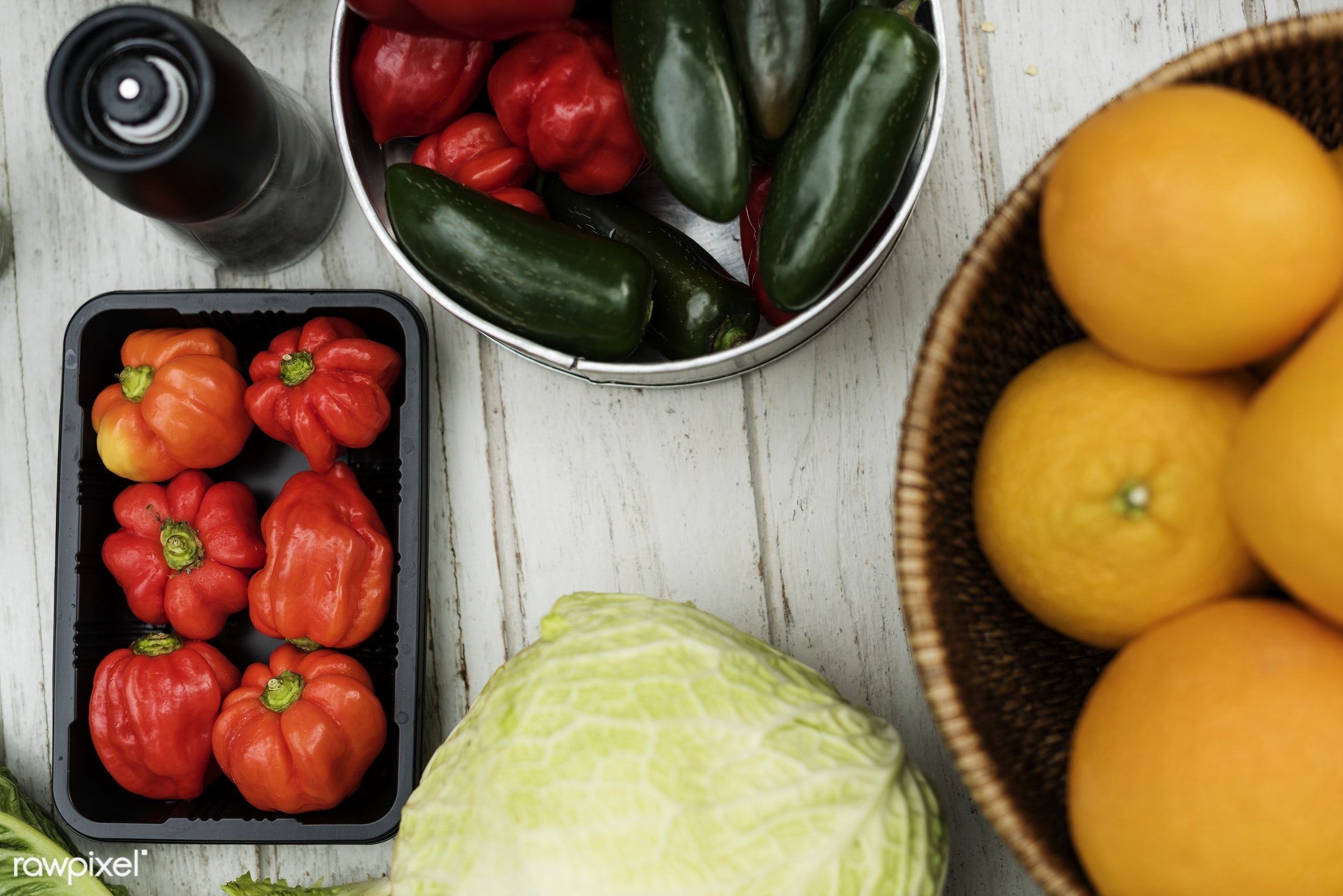 Closeup of various vegetable on wooden table - nobody, pepper, bell pepper, ingredients, real, nature, fresh, closeup,...