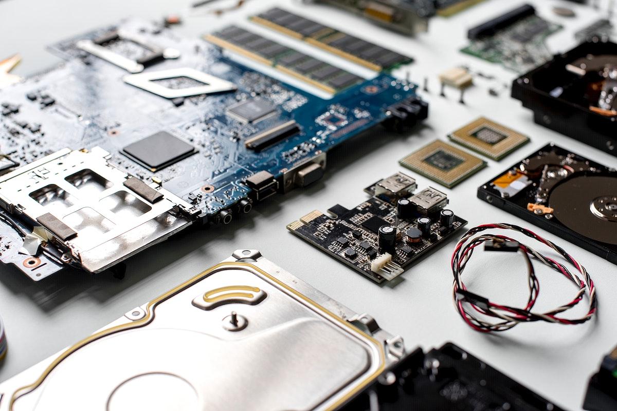 Closeup of computer hard disk drives