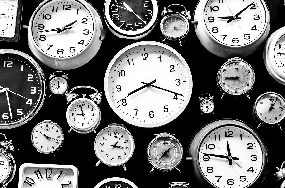 Various size of clocks grayscale