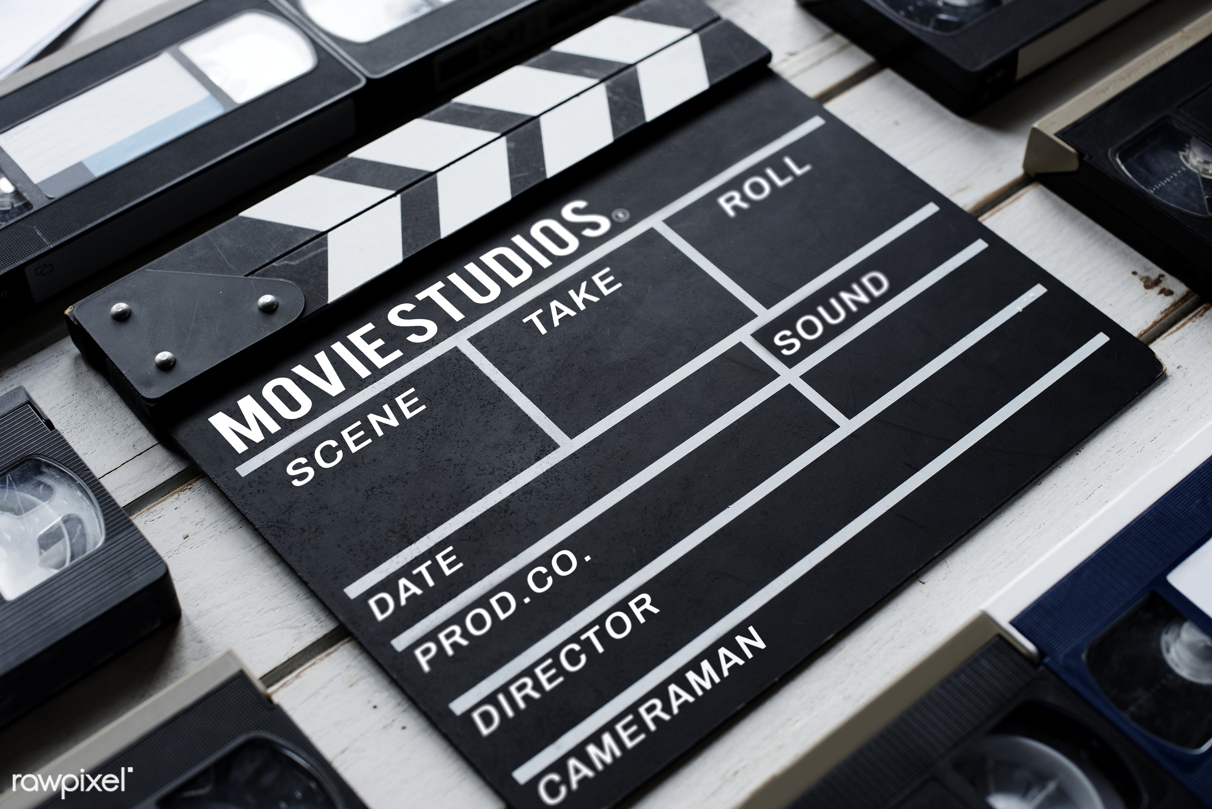 Movie slate - movie, video, cinema, action, analog, antique, entertainment, equipment, film, film strip, nobody, object,...