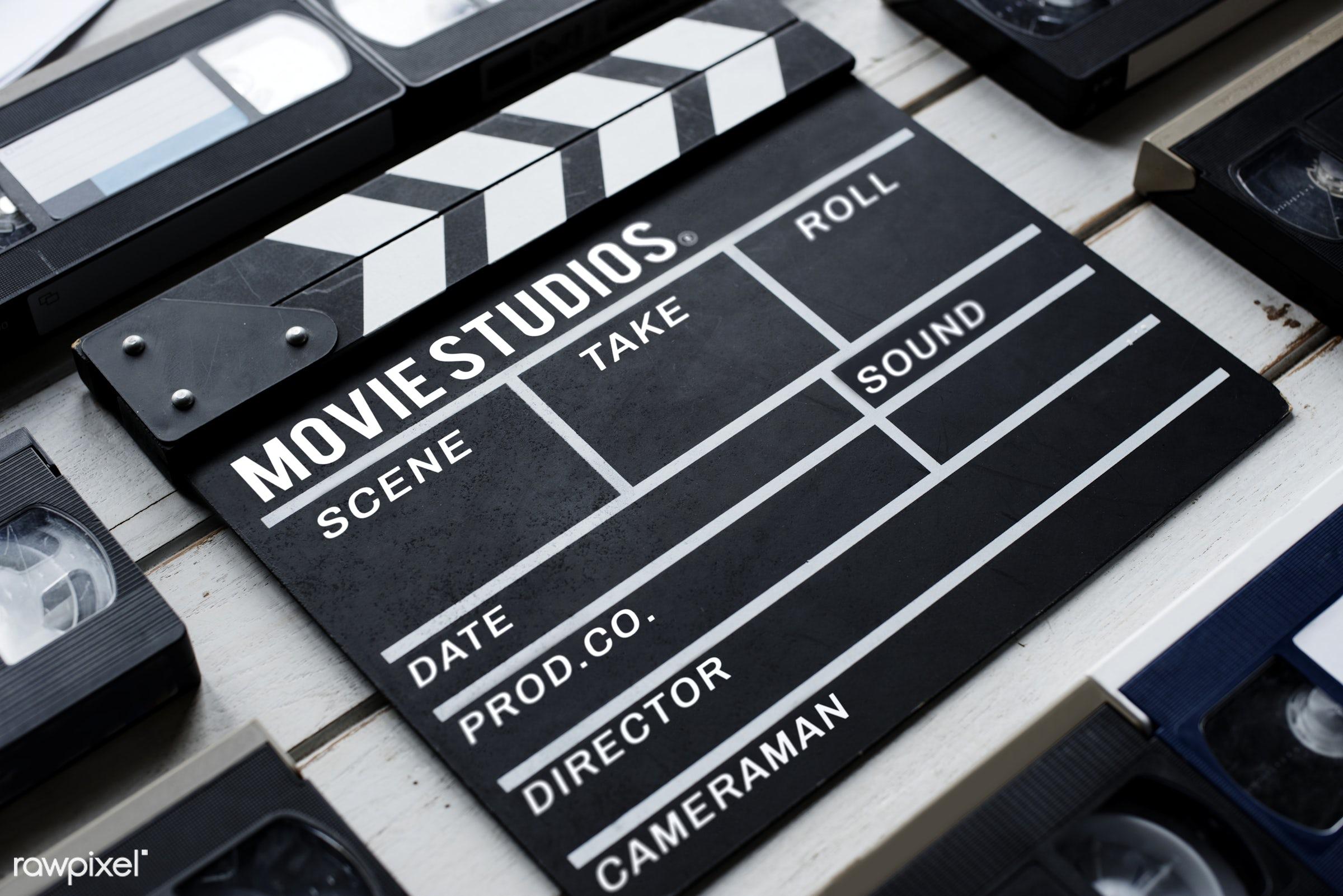 Movie slate - action, analog, antique, cinema, entertainment, equipment, film, film strip, movie, nobody, object, slate,...