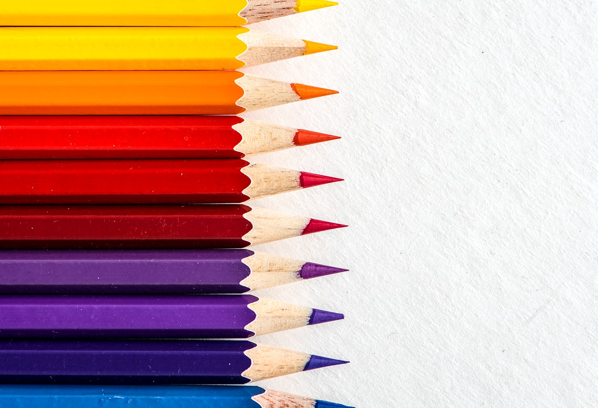 Closeup of colorful color pencil stationery