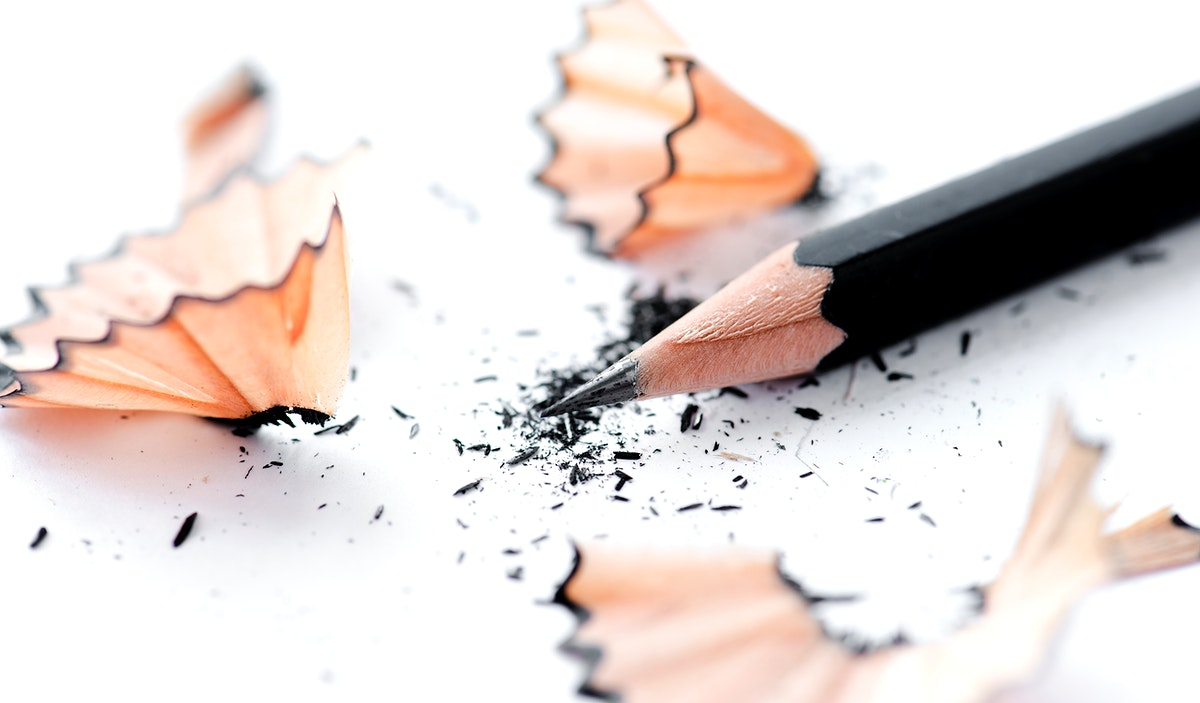 Closeup of pencil shaving isolated