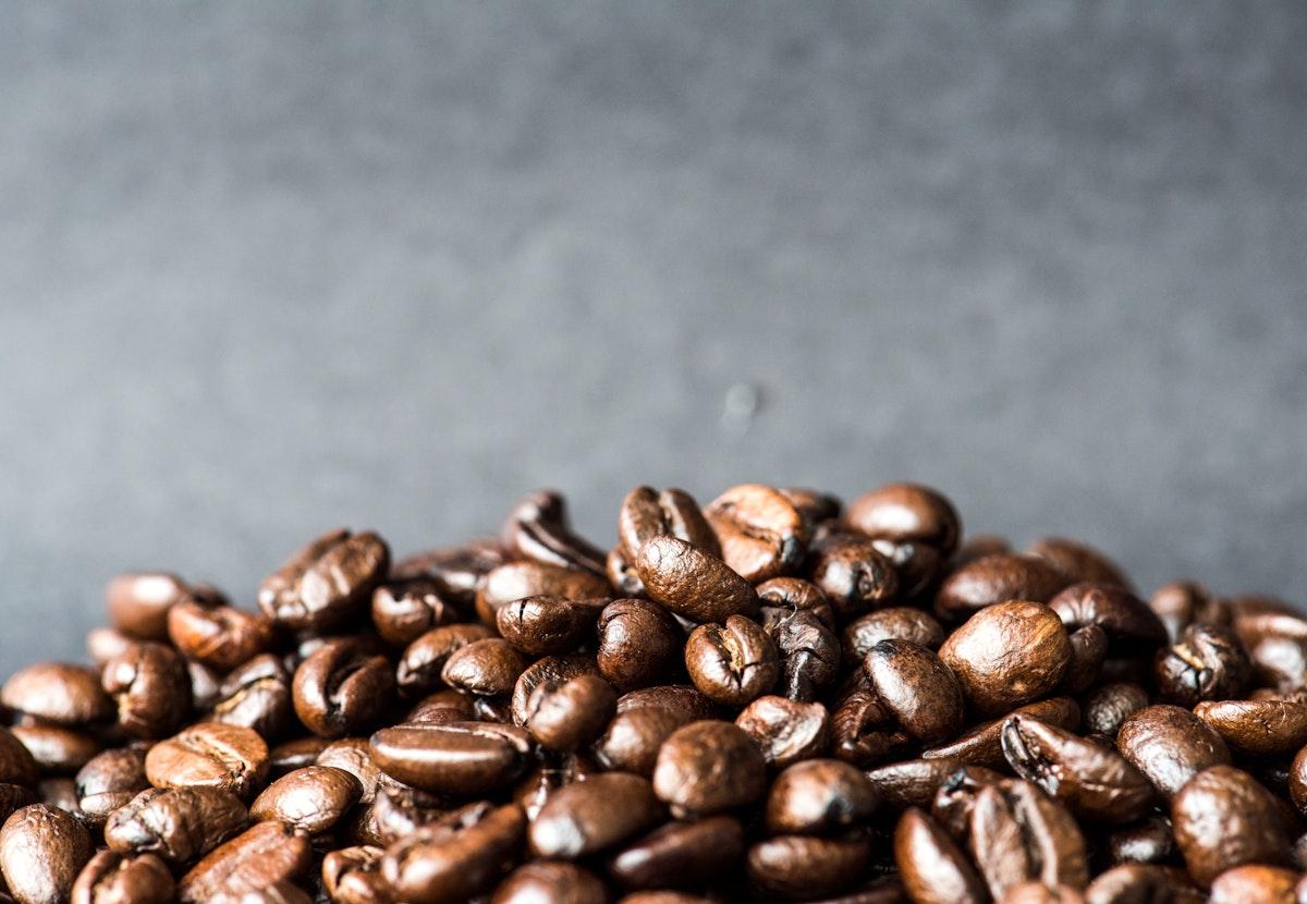Closeup of roasted coffee beans macro