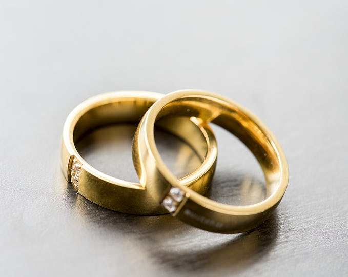 Closeup of couple golden rings macro