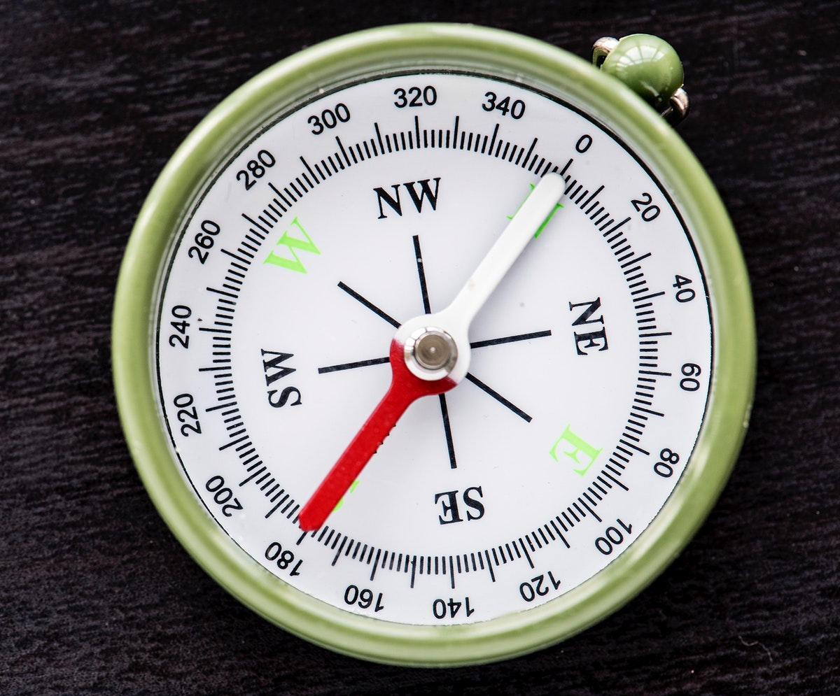 Closeup of compass navigation tool isolated