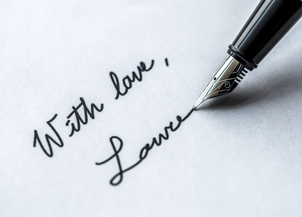 Macro of signing fountain pen