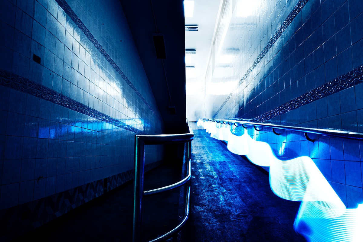 Blue lights long exposure technique