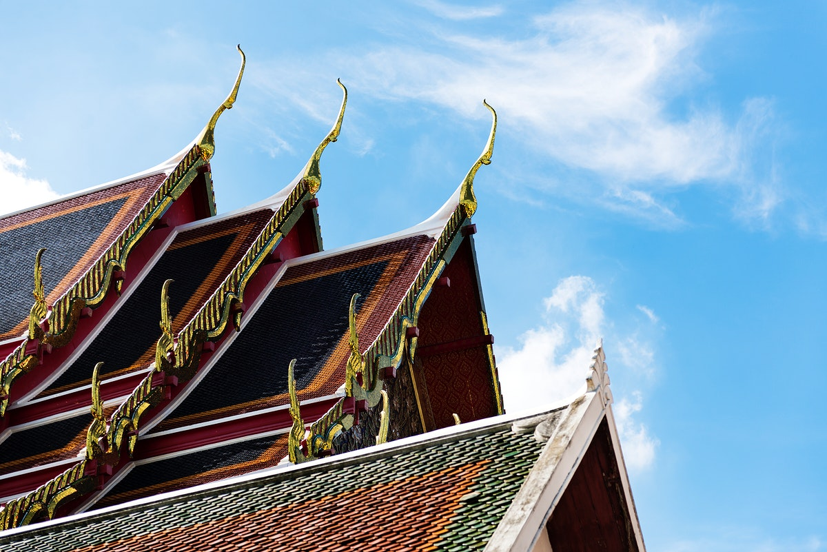 Asian style temple roof in Bangkok, Thailand
