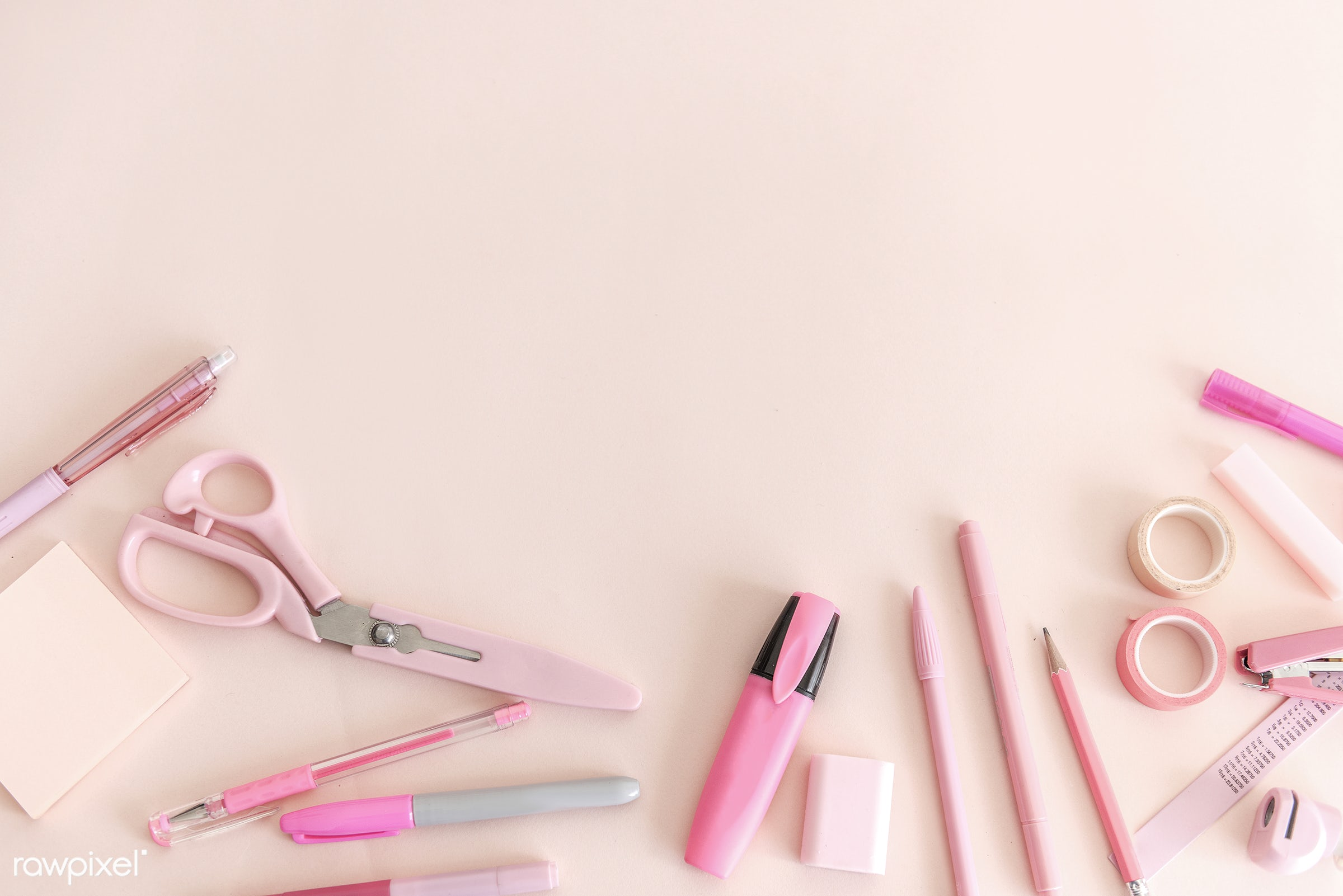 aerial, copy space, design space, flat lay, nobody, object, objects, pencils, pens, pink, scissors, space, stationery