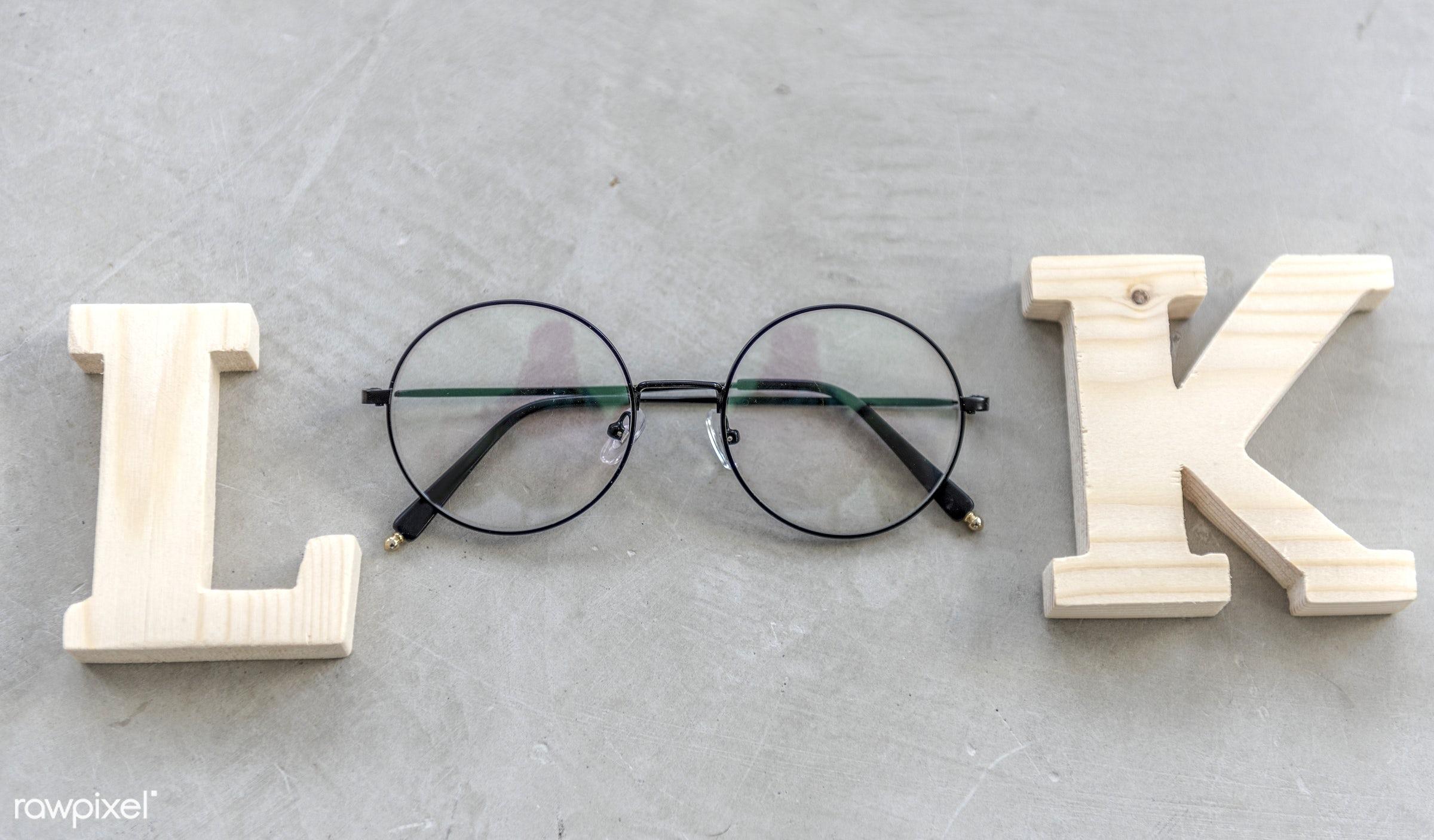 aerial, alphabets, eyeglasses, flatlay, isolated, look, nobody, object, term, word, flat lay