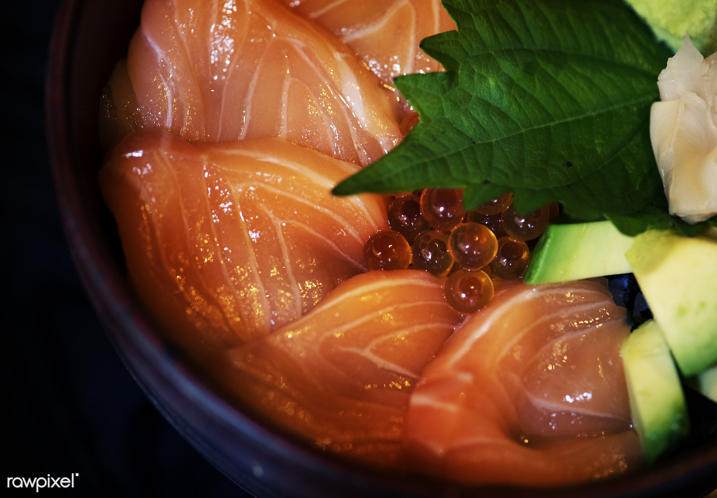 Japanese cuisine - fish, salmon, tasty, asia, asian, avocado, closeup, cuisine, delicious, eating, food, fresh, gourmet,...
