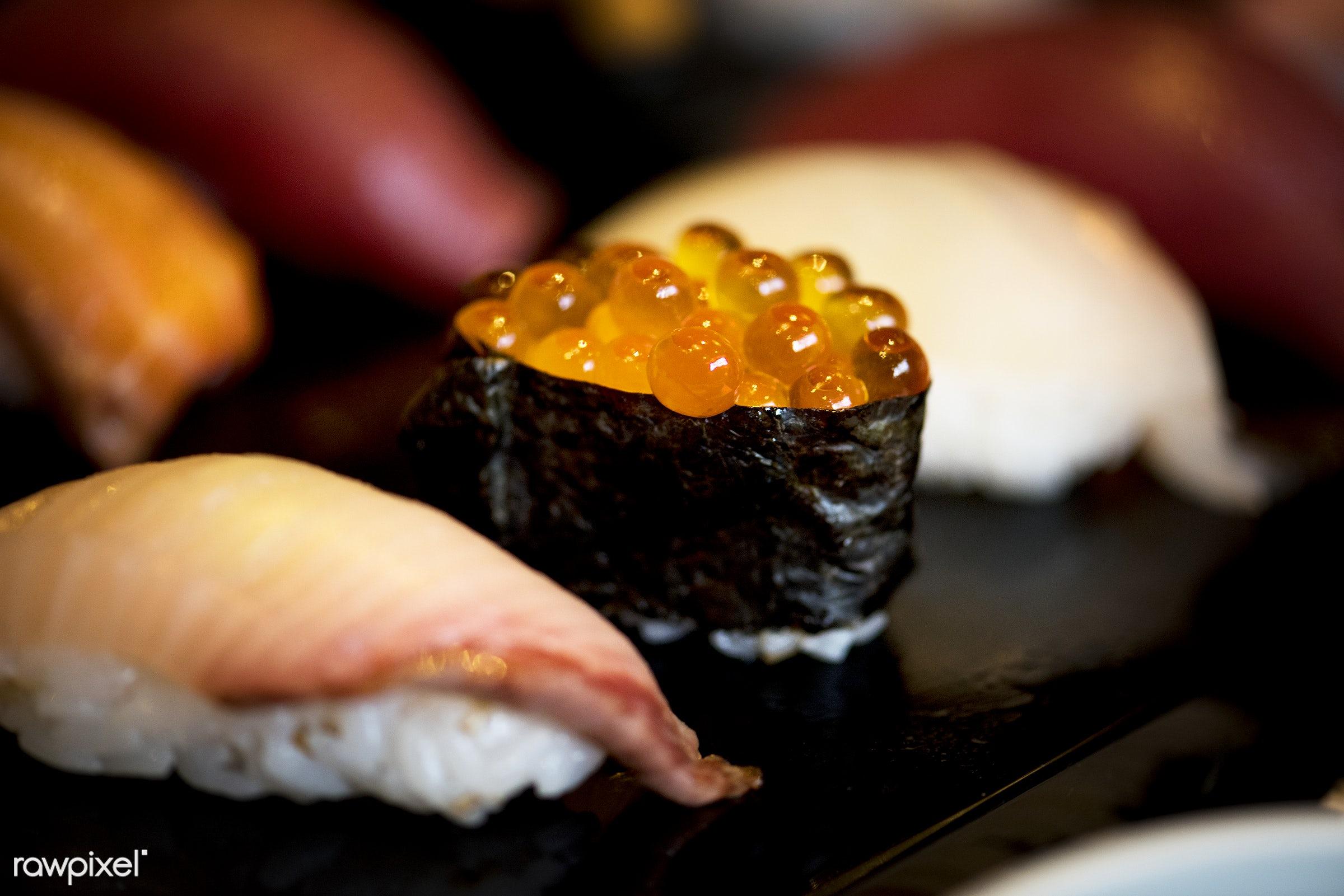 Japanese cuisine - sushi, tasty, asia, asian, cuisine, delicious, eating, fish, food, fresh, gourmet, healthy, ikura, japan...