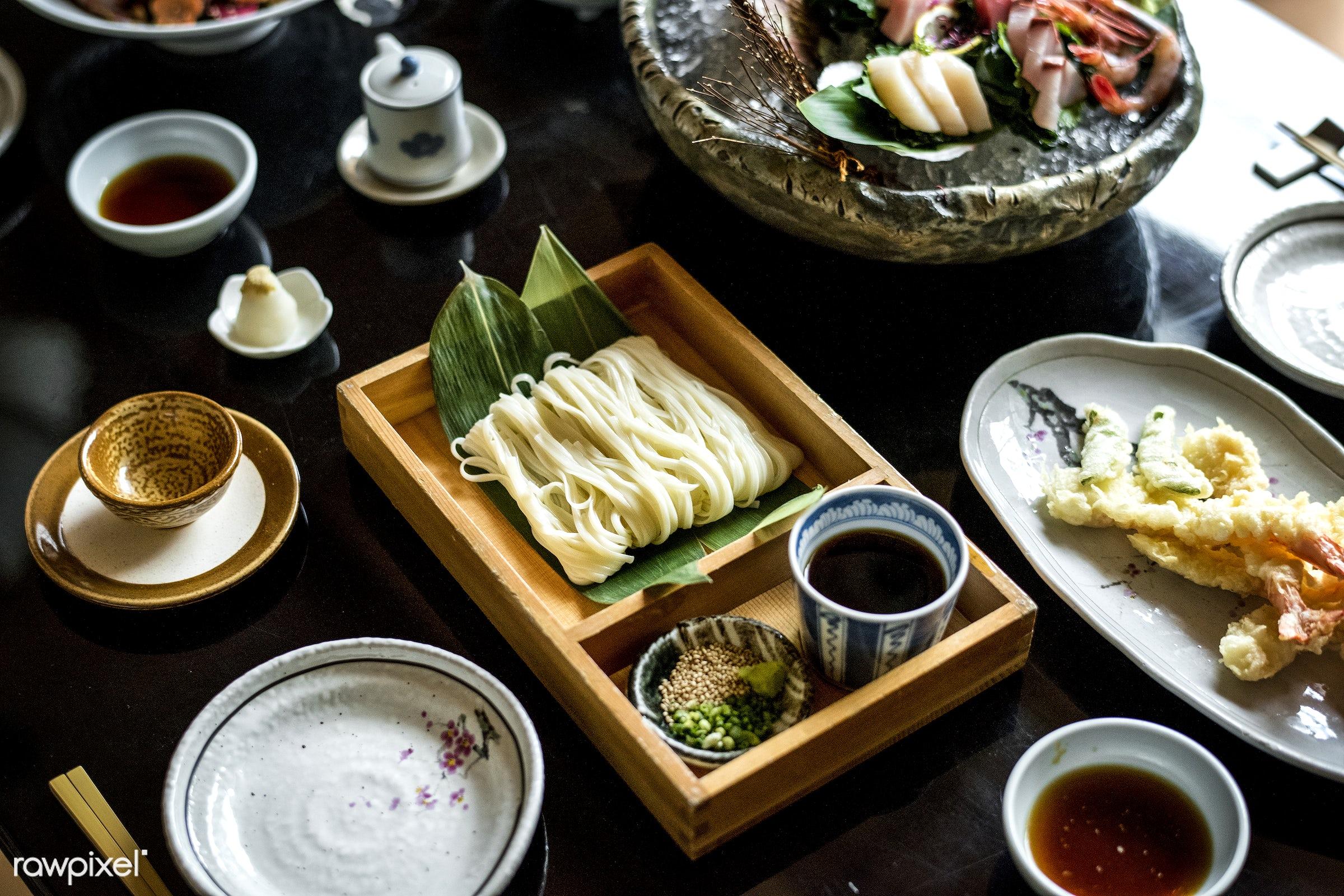 Japanese cuisine - restaurant, japanese, asia, asian, closeup, cold noodles, cold soba noodles, combination, cuisine,...