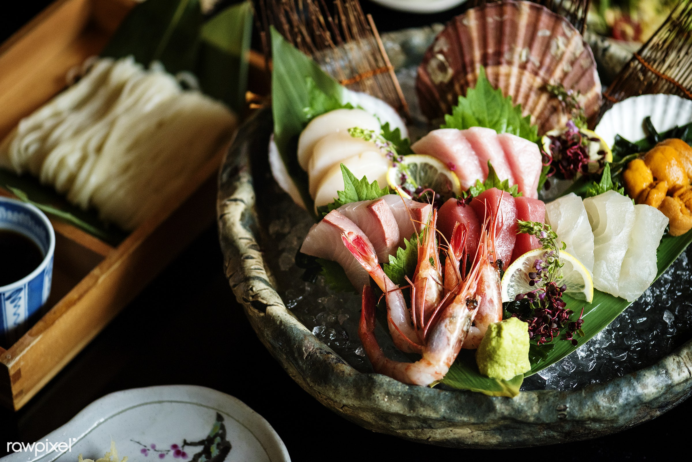 Japanese cuisine - japan, sushi, tasty, asia, asian, closeup, cold soba noodles, cuisine, delicious, eating, fish, food,...