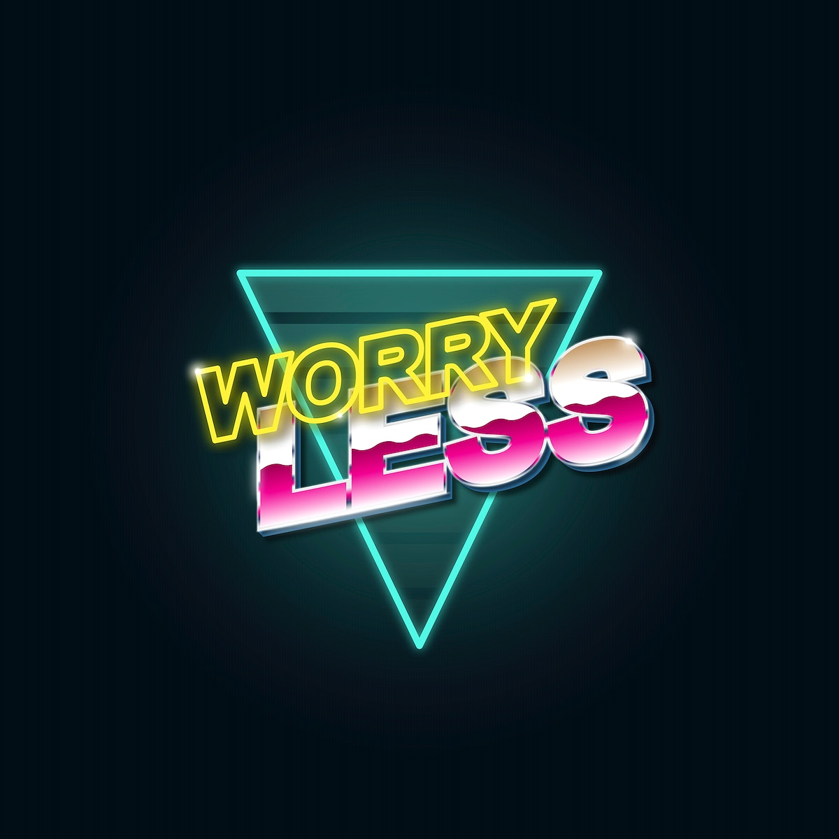 Worry less word with triangle graphic illustration on black background