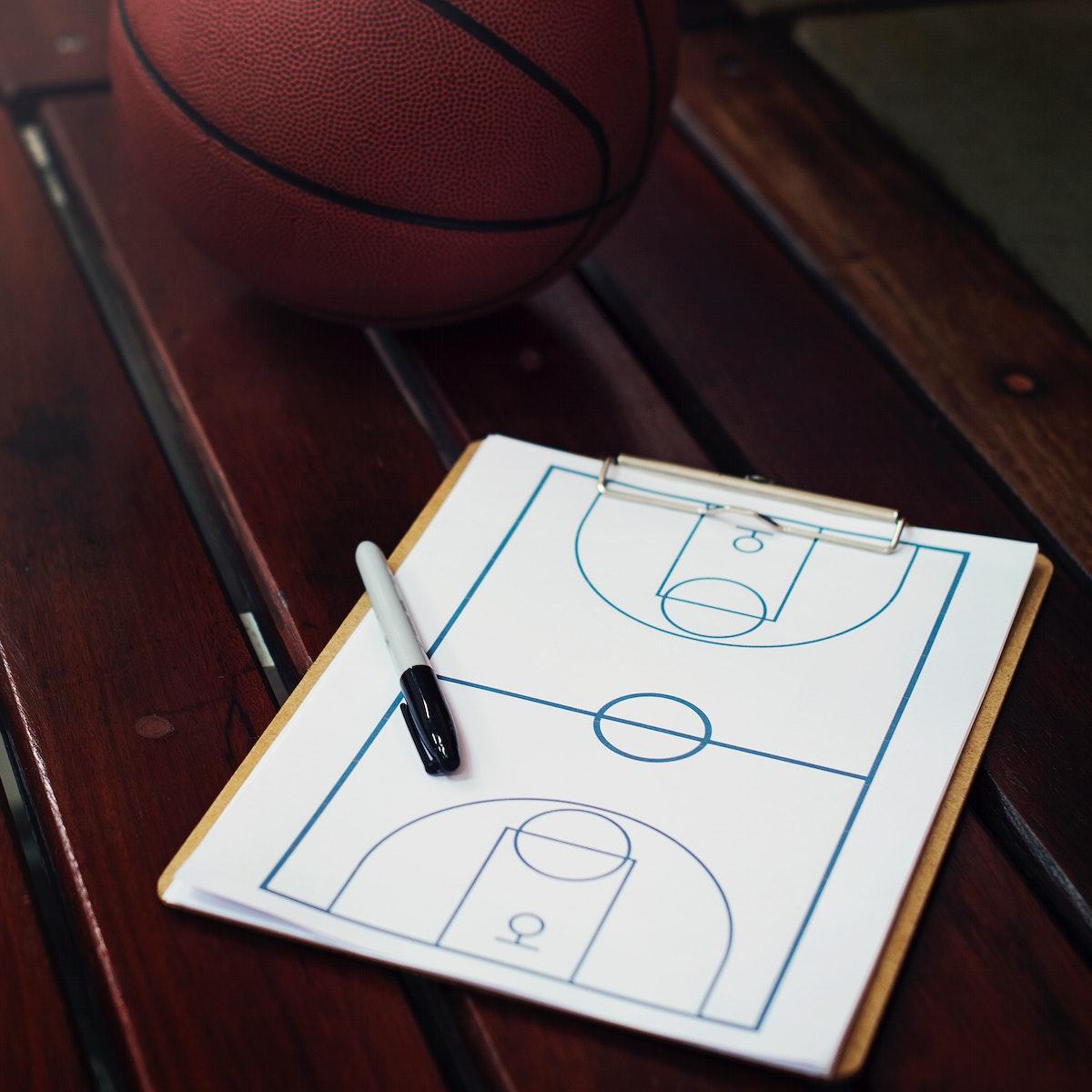 Closeup of basketball scheme tactic game plan
