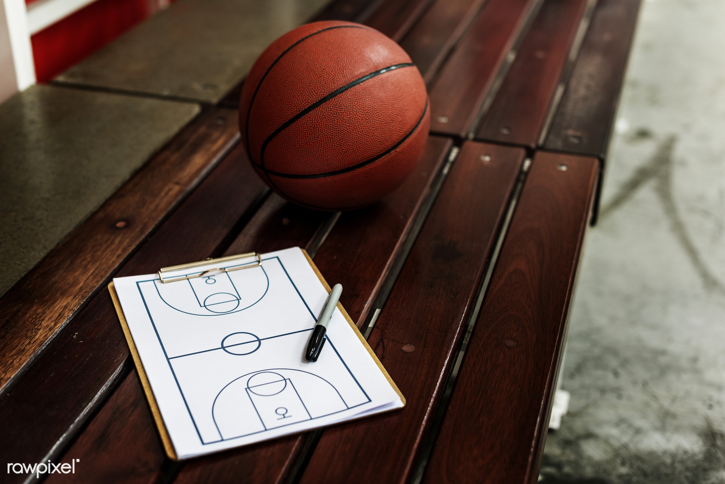 Young basketball player shoot - basketball, game, ball, coach, activity, closeup, court, exercise, nobody, object, paper,...