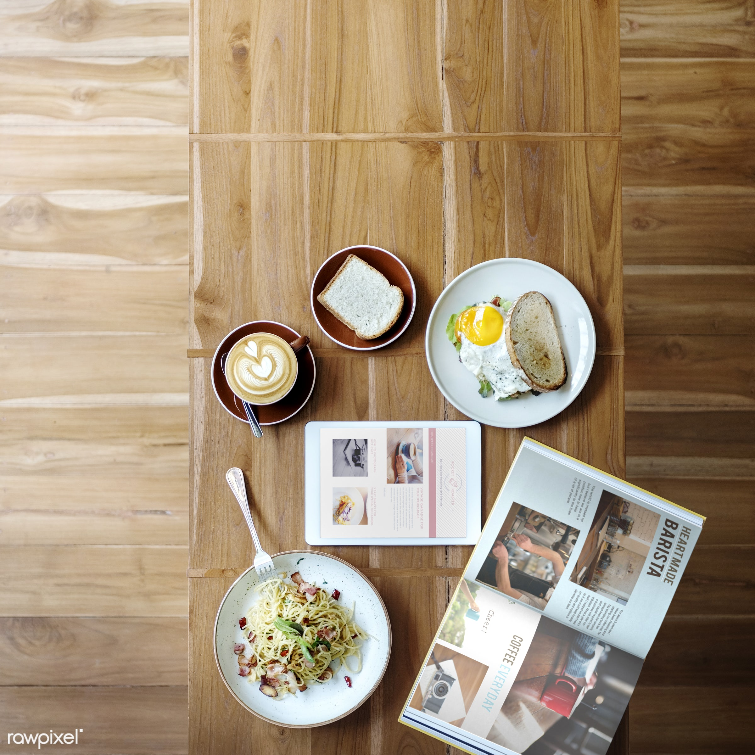 aerial view, appetizing, books, bread, breakfast, cafe, cafeteria, coffee, cooked, cookery, cuisine, culinary, delicious,...